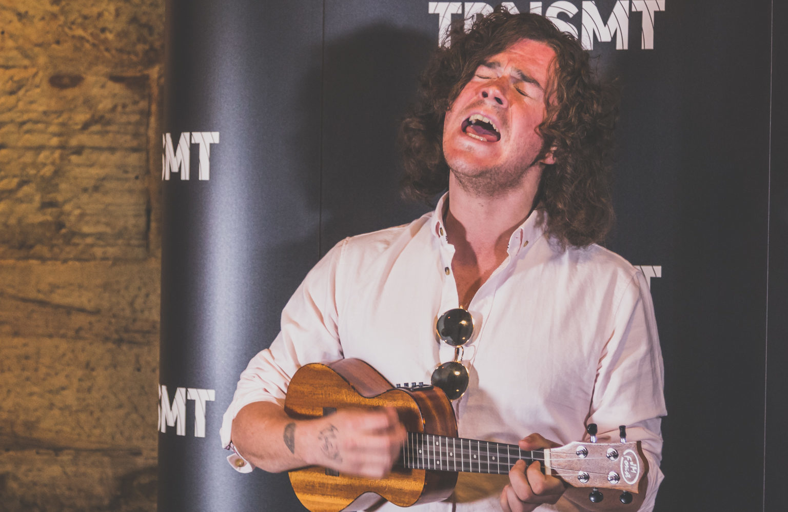 Kyle Falconer performs at a media event ahead of TRNSMT
