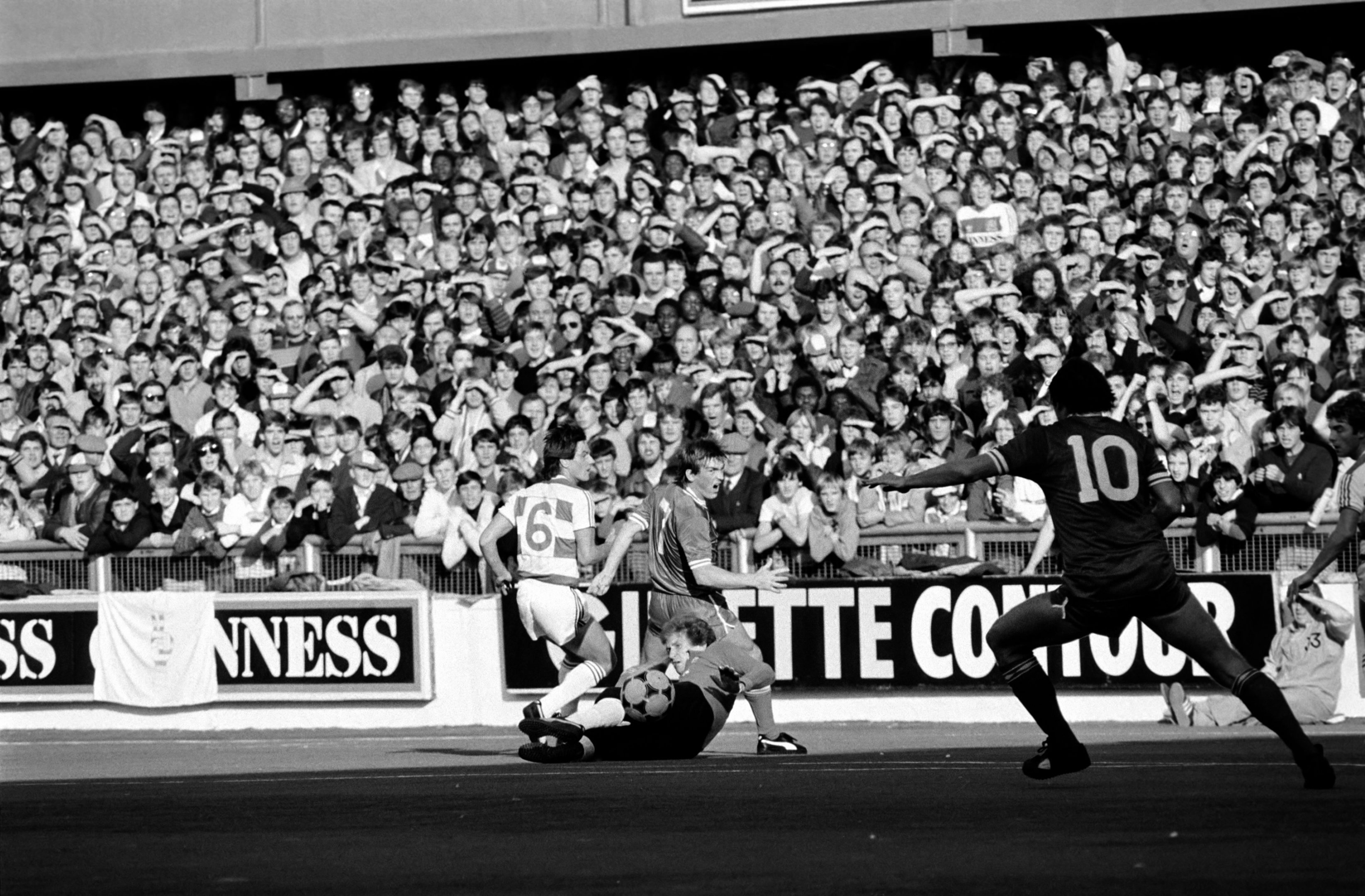 Kenny Dalglish in action against QPR on Loftus Road's plastic pitch in October 1983 (Mirrorpix)