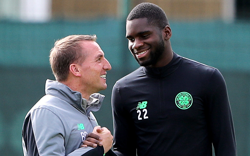 Celtic manager Brendan Rodgers with Odsonne Edouard (right) during a training session (PA)