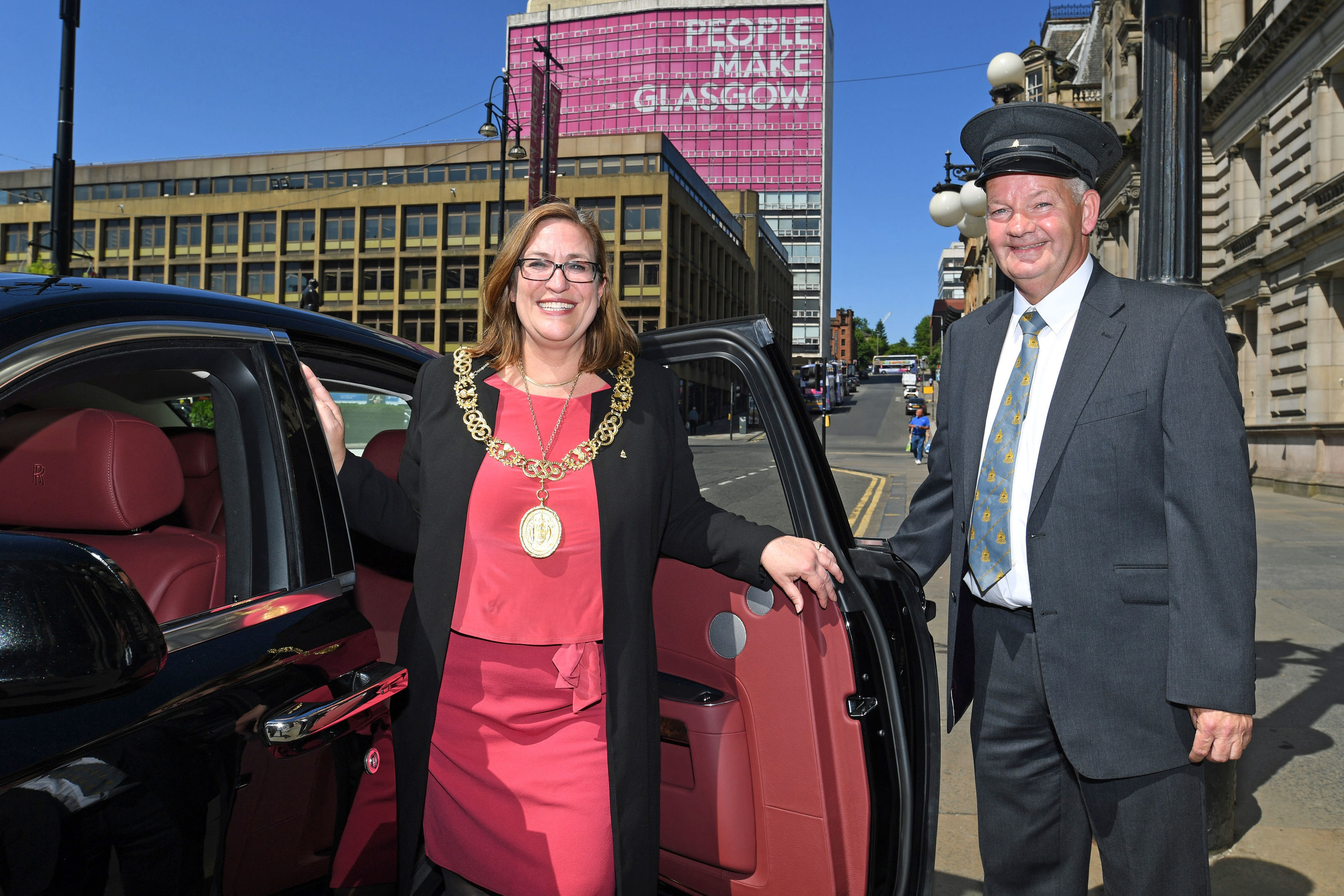 Lord Provost Eva Bolander with the donated Rolls Royce Ghost (Glasgow City Council/PA Wire)
