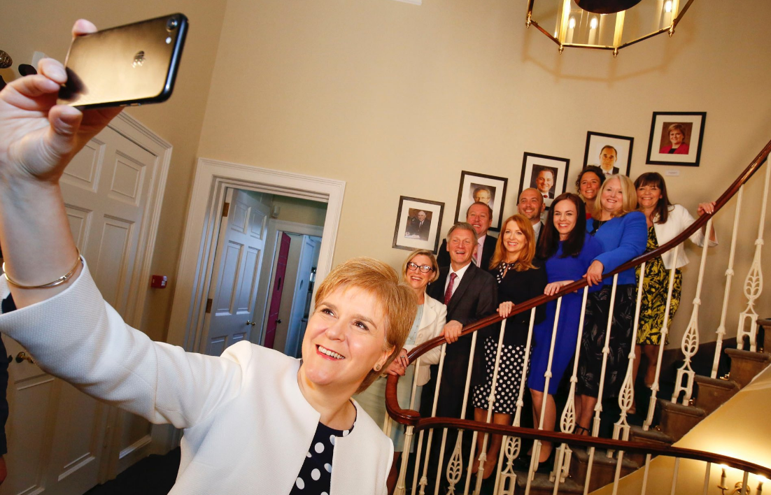 Nicola Sturgeon takes a selfie with the new junior ministers, including Gillian Martin (Twitter)