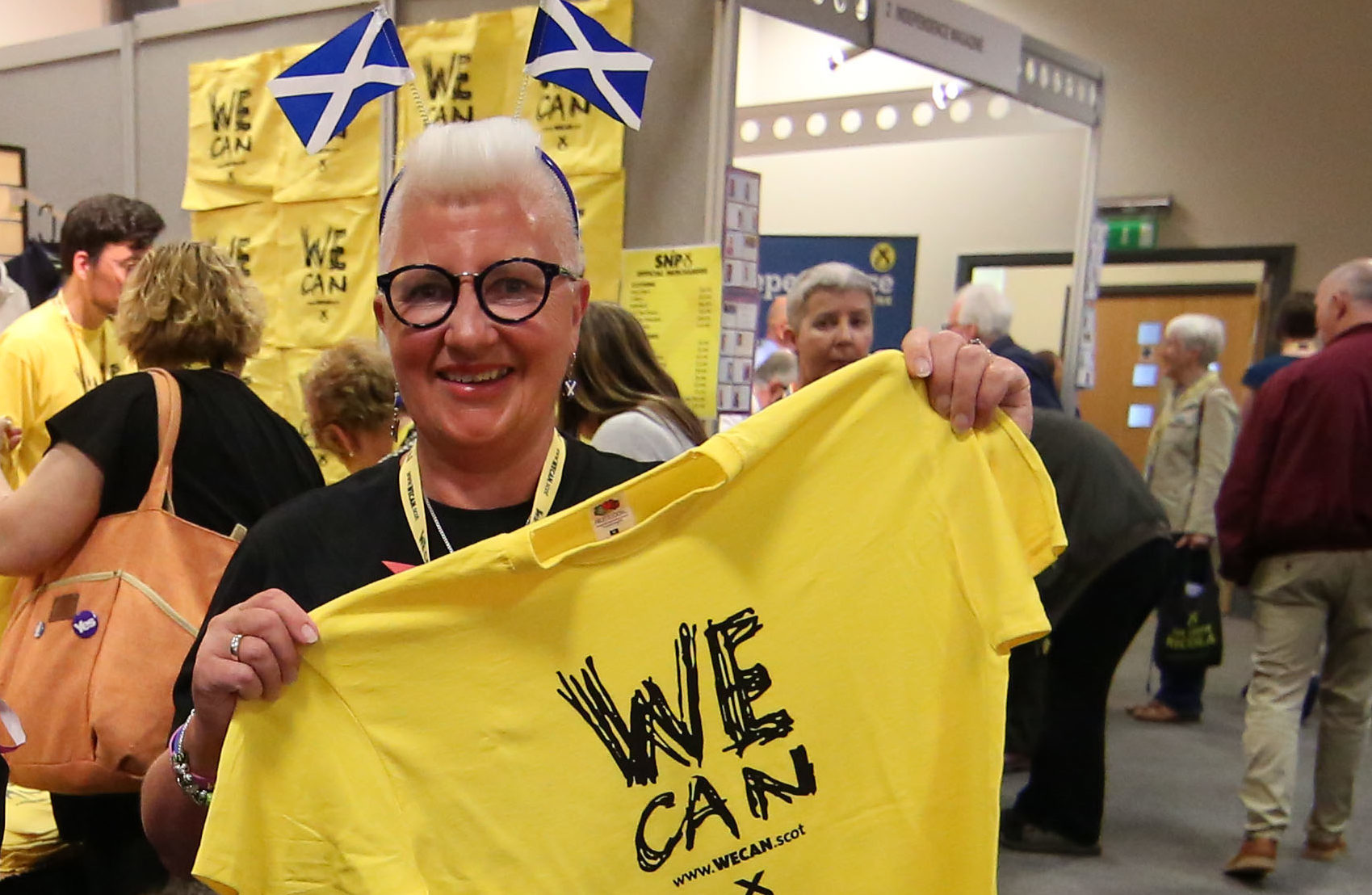 Agnes Magowan shows her support at the SNP conference in Aberdeen on Friday (Allan Milligan)