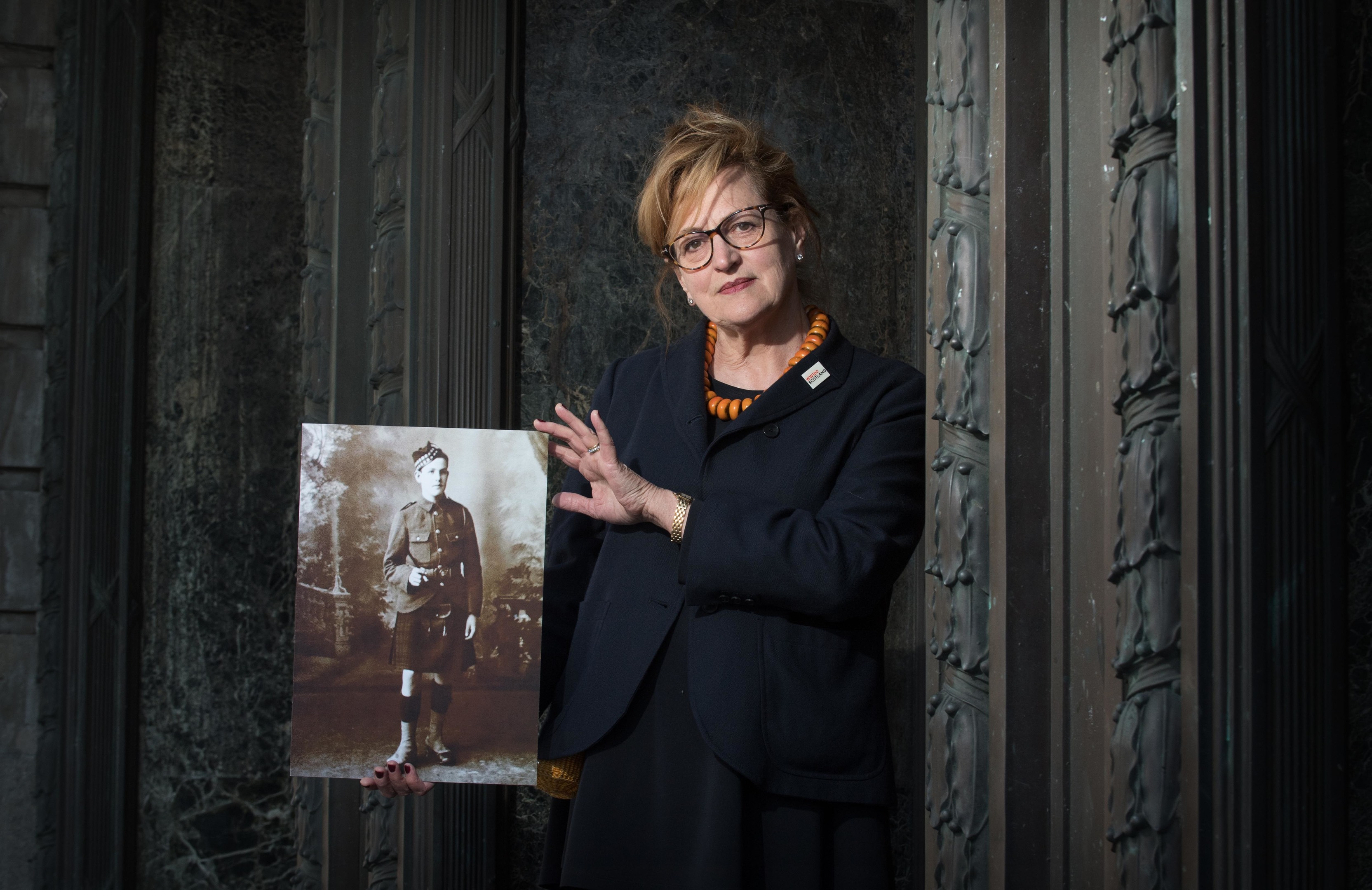 Folk singer Barbara Dickson with a portrait of her uncle, David Dickson, who died in the Battle of the Somme (Gareth Easton)