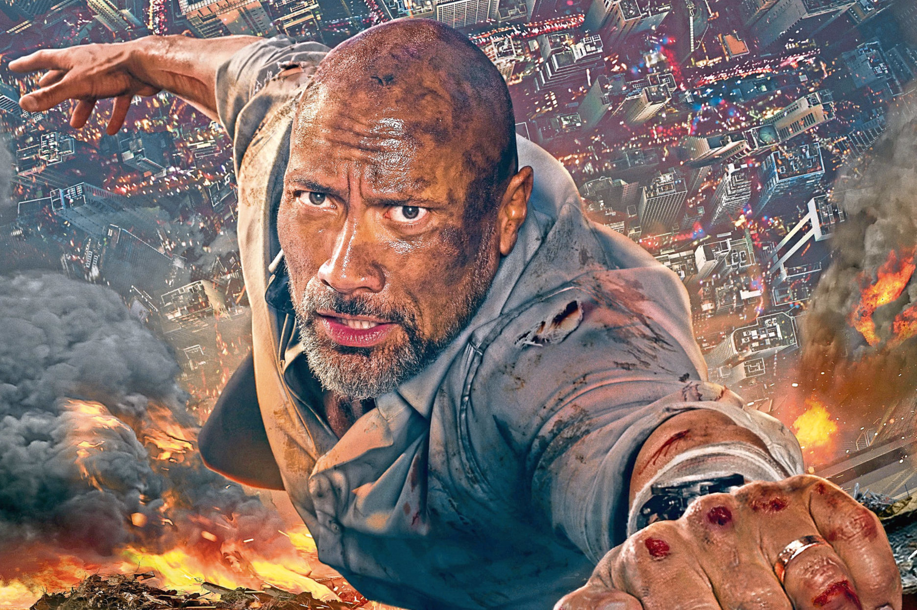 Dwayne Johnson in Skyscraper (Allstar/UNIVERSAL PICTURES)