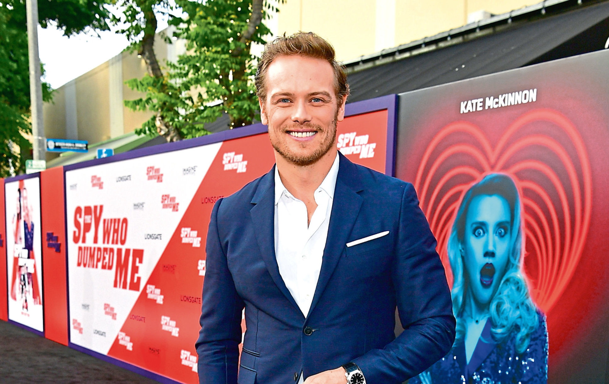 Sam Heughan attends the premiere of Lionsgate's 'The Spy Who Dumped Me' at Fox Village Theater on July 25, 2018 in Los Angeles, California.  Emma McIntyre/Getty Images.