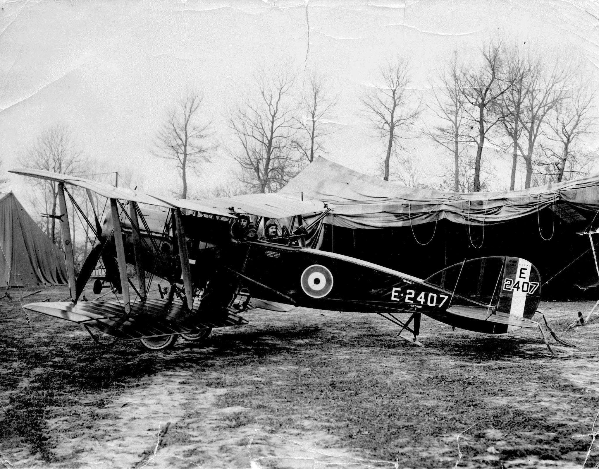 Captain Horace Percy Lale and Lieutenant WH Welsh of the Royal Flying Corps in their two-seater Bristol Fighter plane