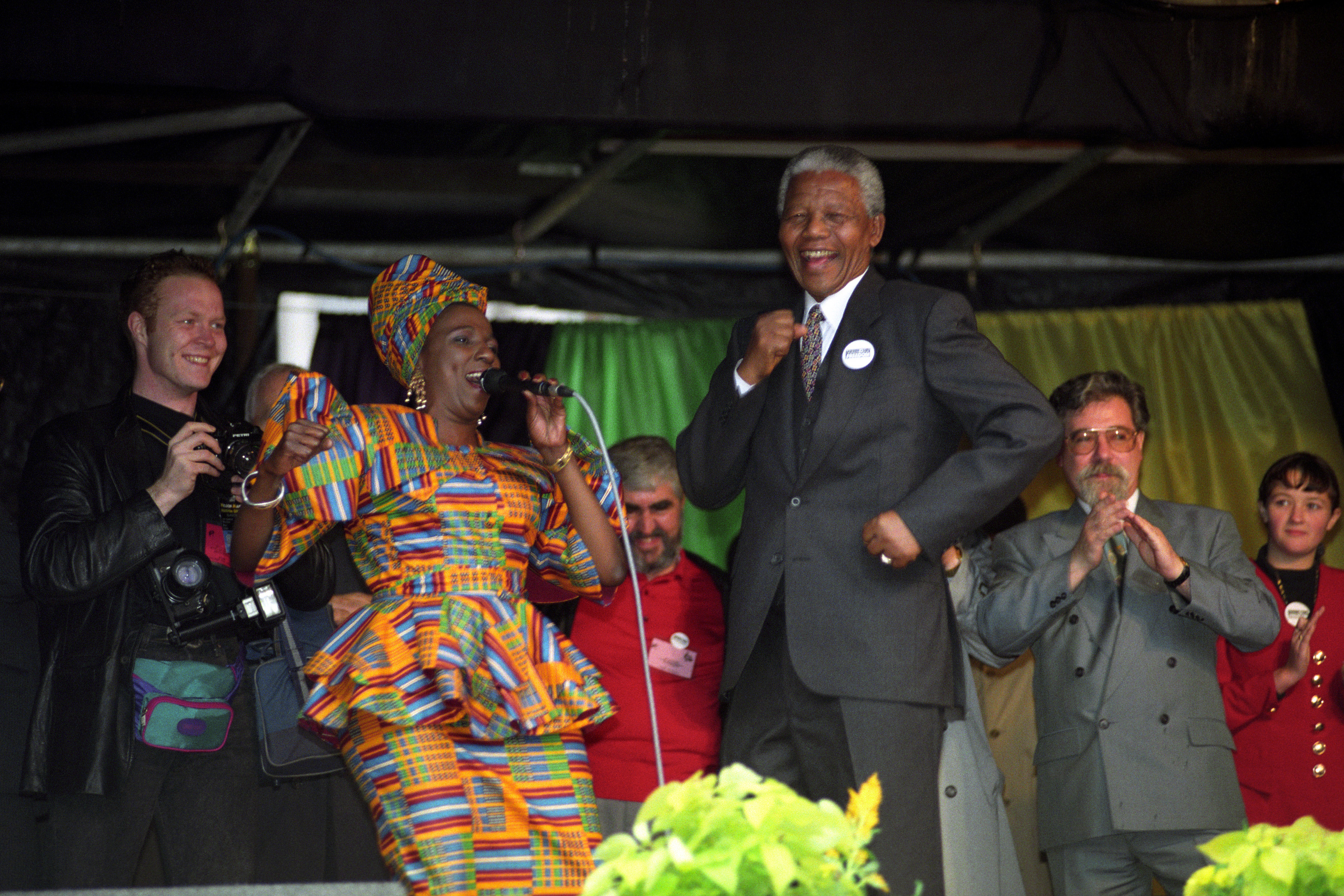Nelson Mandela on stage at George Square during his 1993 visit (PA)