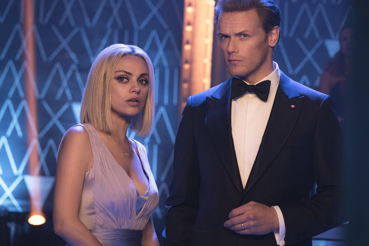 Audrey (Mila Kunis) and Sebastian (Sam Heughan) in The Spy Who Dumped Me (Lionsgate)