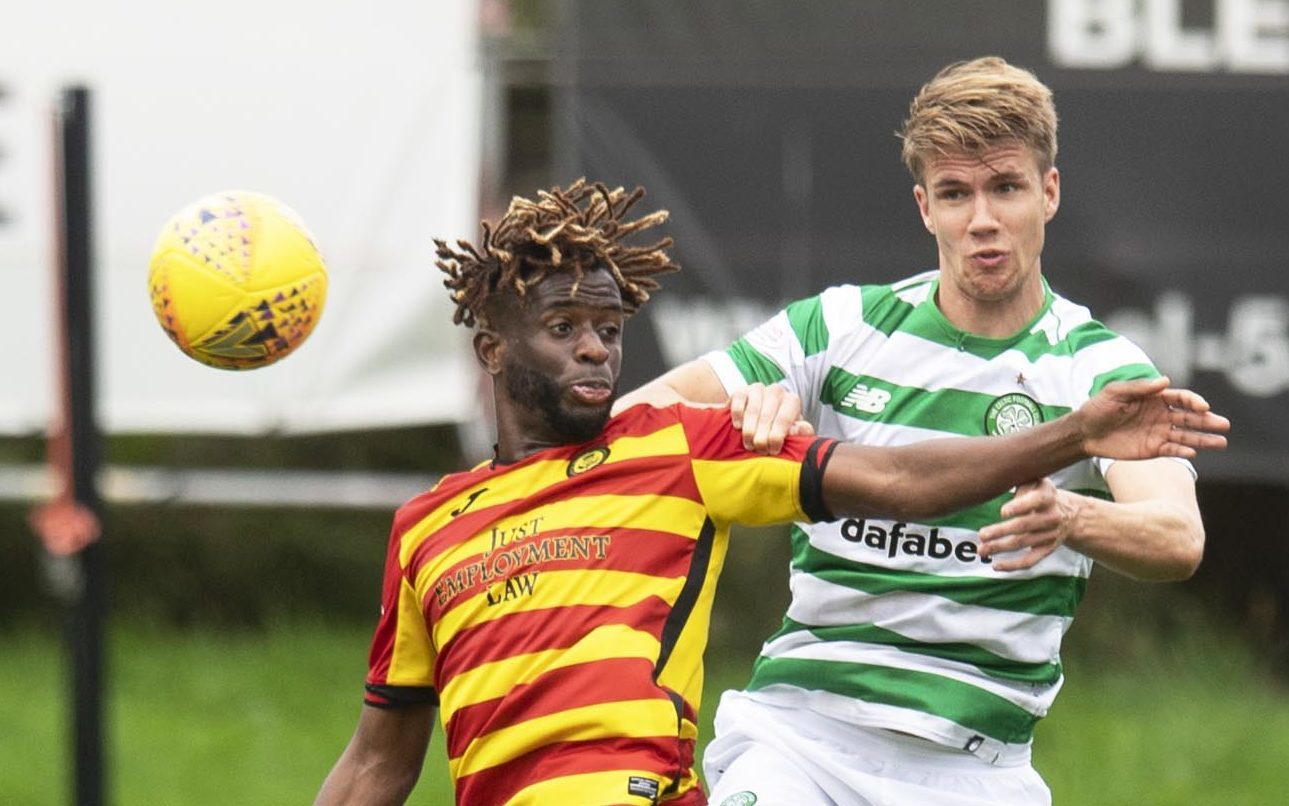 Kristoffer Ajer, here up against Partick Thistle's Andrea Mbuyi-Mutombo, is up for the physical challenge (SNS Group / Craig Williamson)