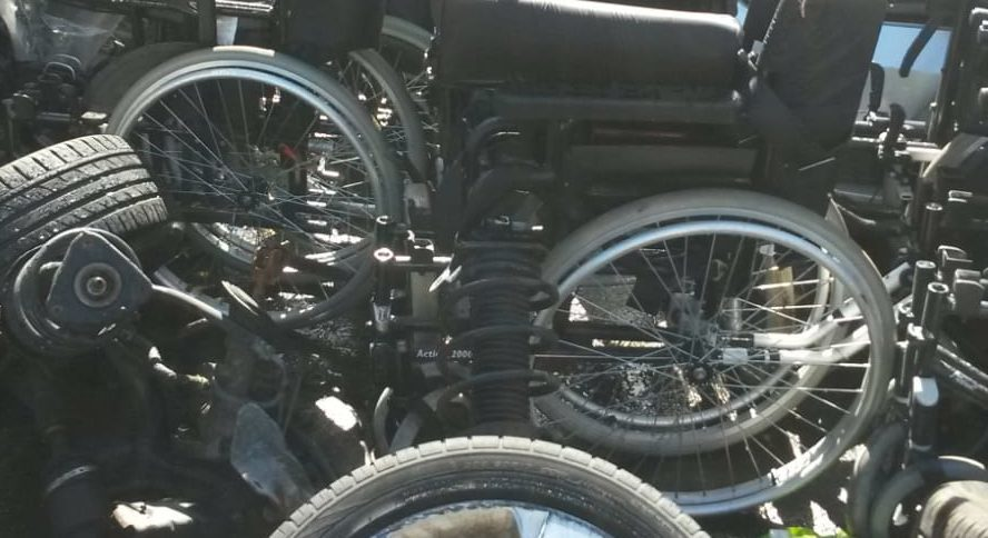 Wheelchairs found in scrapyard.