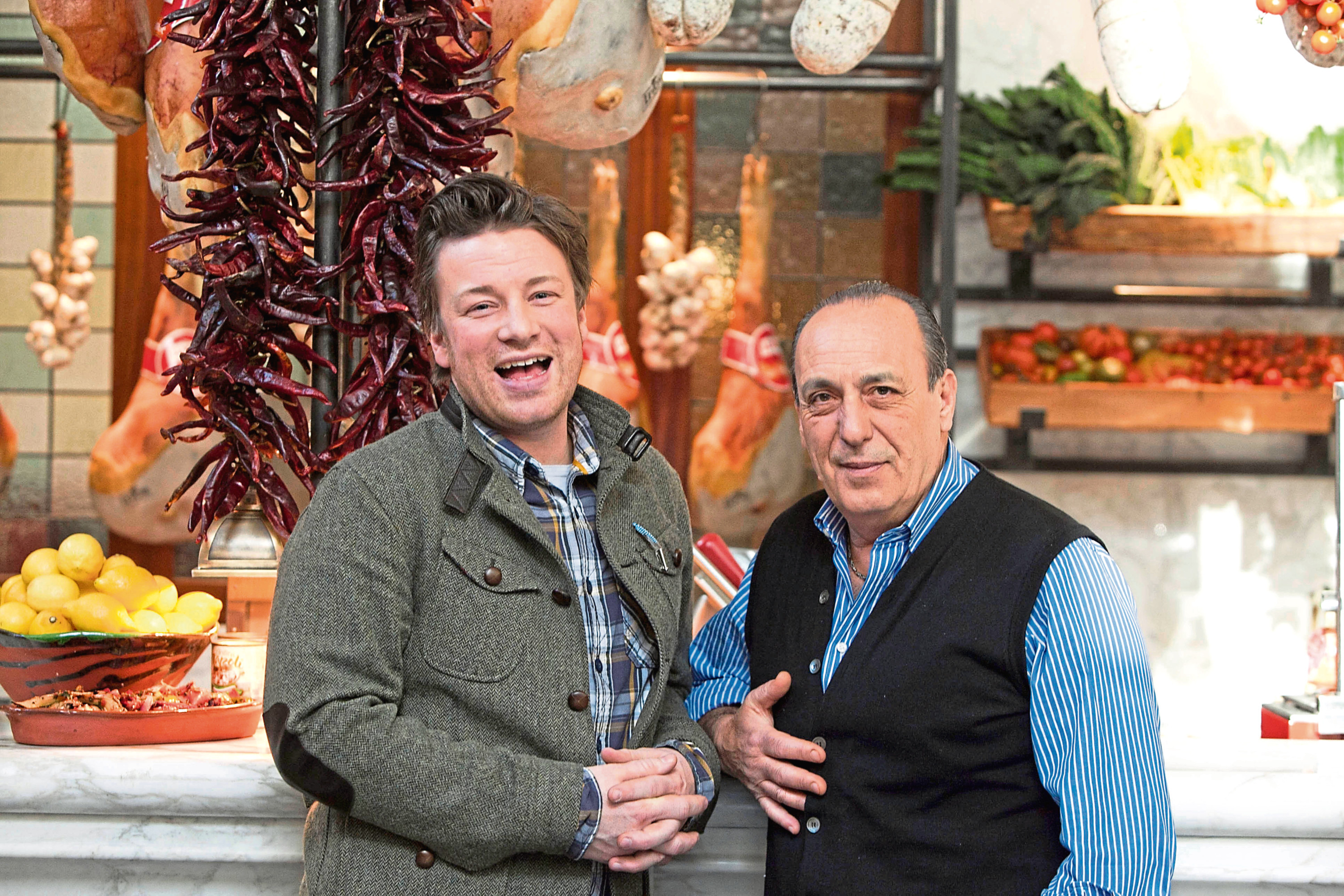 Gennaro Contaldo, right, with fellow chef and friend Jamie Oliver