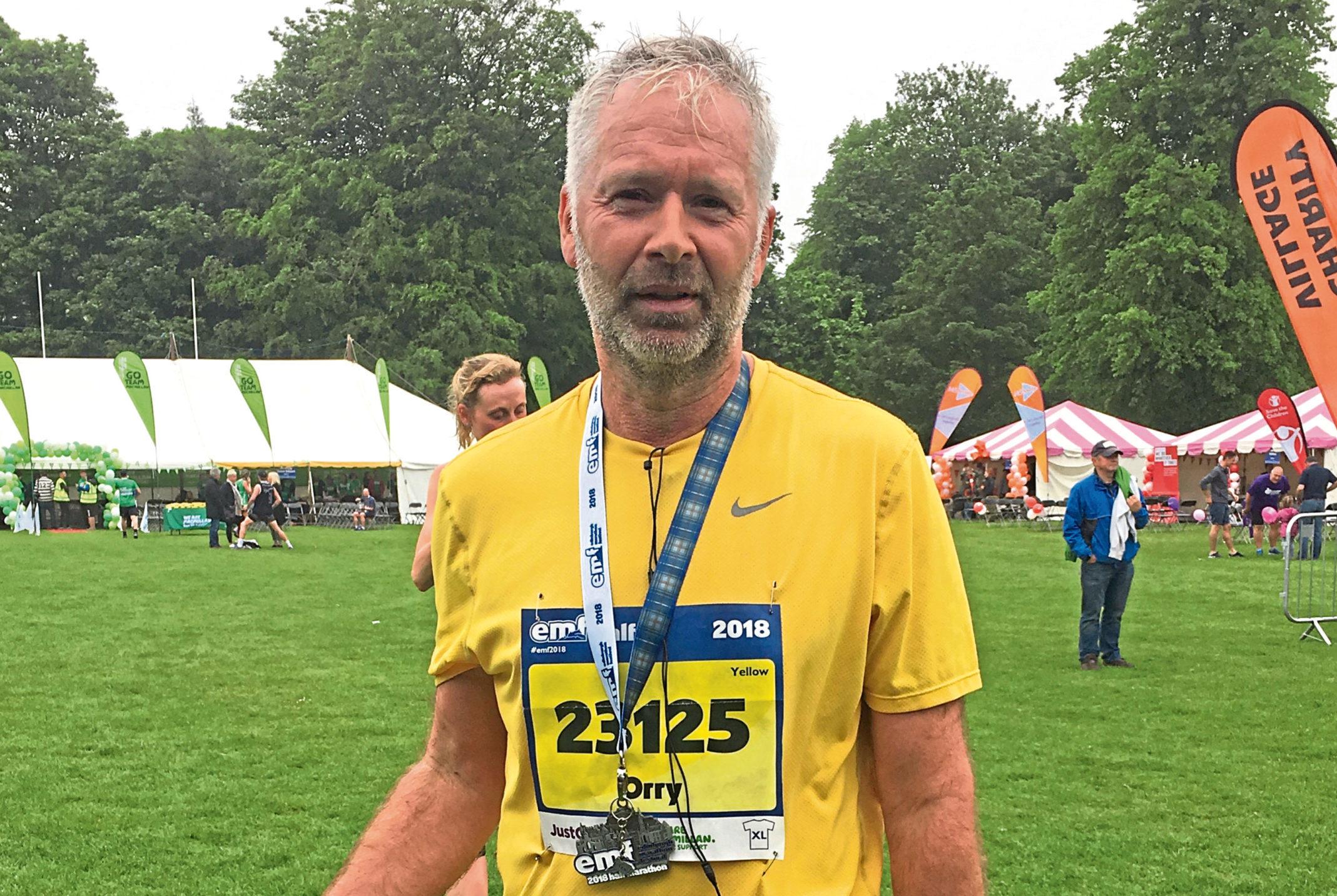 Retired pipe fitter Orry Nowosad after the Edinburgh Half Marathon