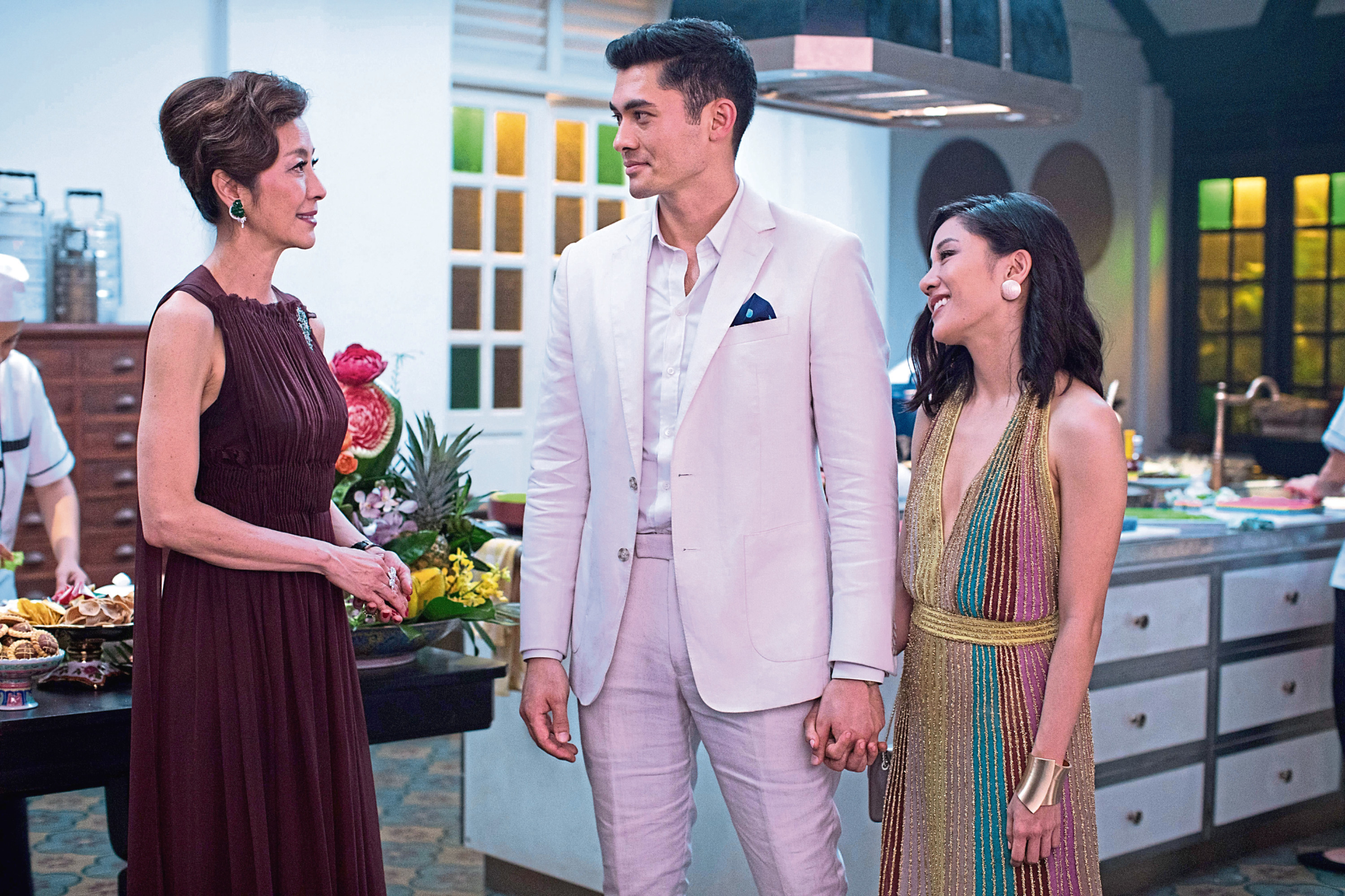 Michelle Yeoh, Henry Golding and Constance Wu in Crazy Rich Asians