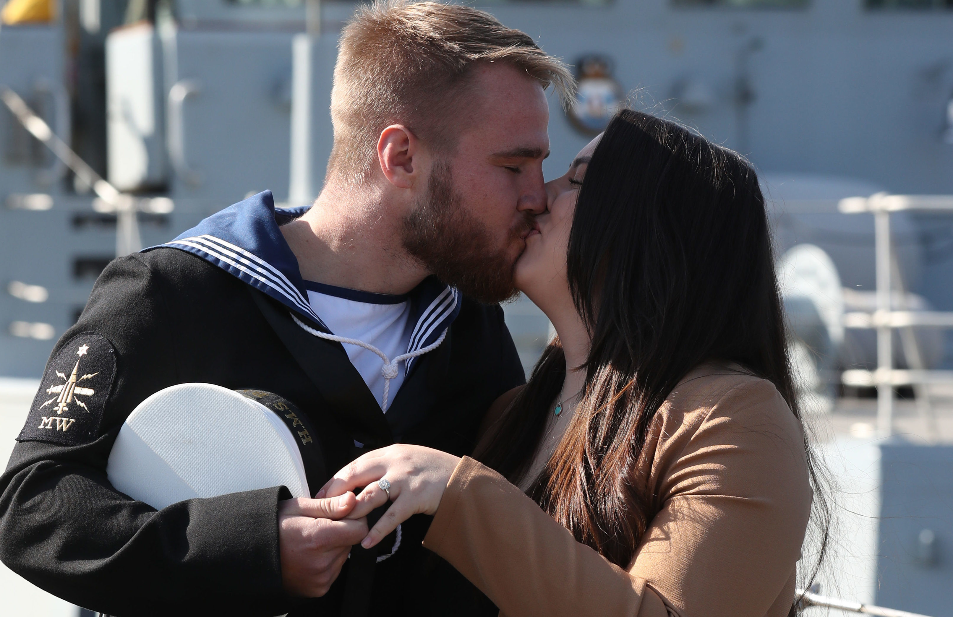 Able seaman Joshua Bertman with fiance Hazel Staunton (Andrew Milligan/PA Wire)