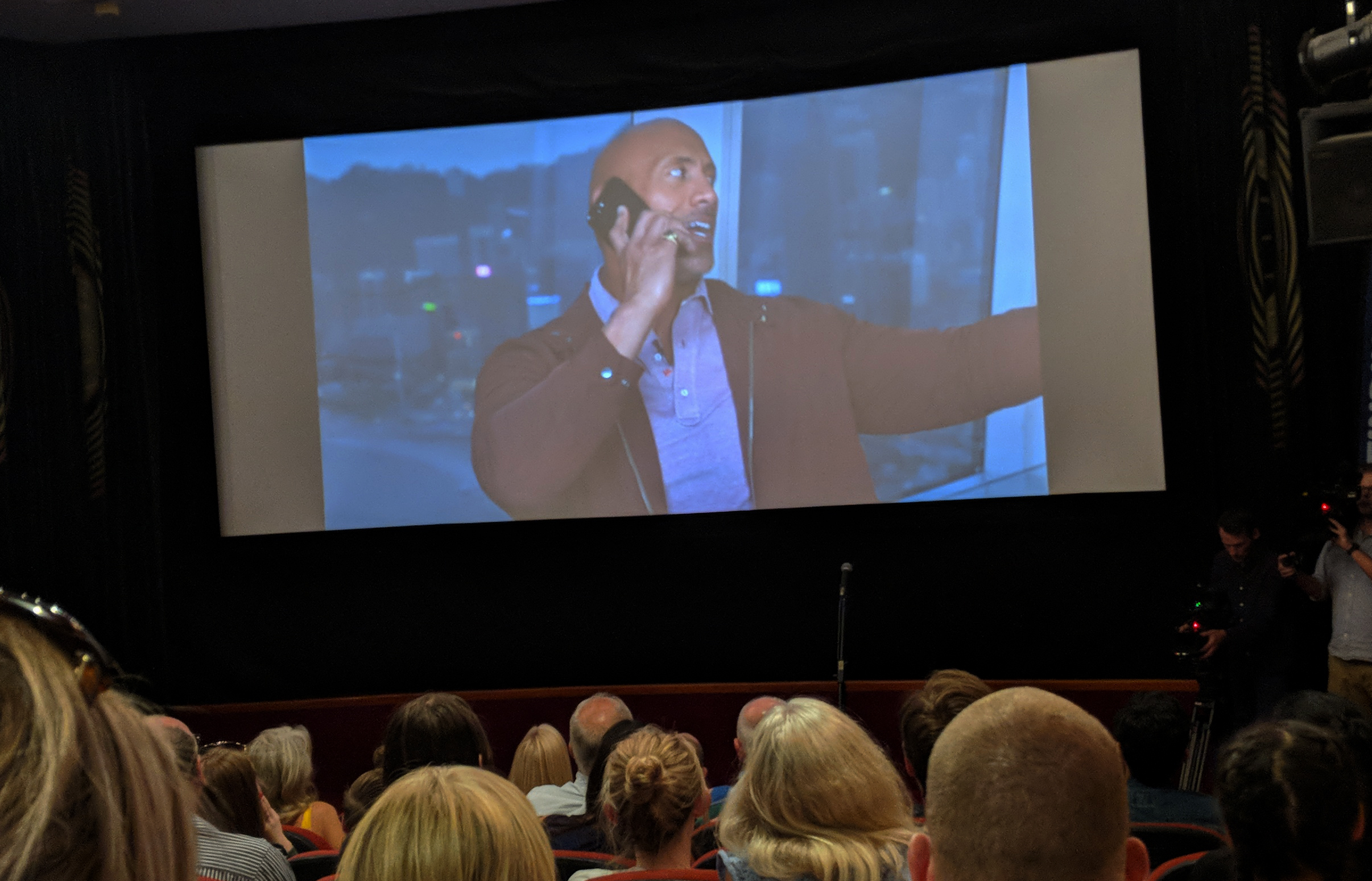 The Rock surprises guests at the screening event (Finding Your Feet)