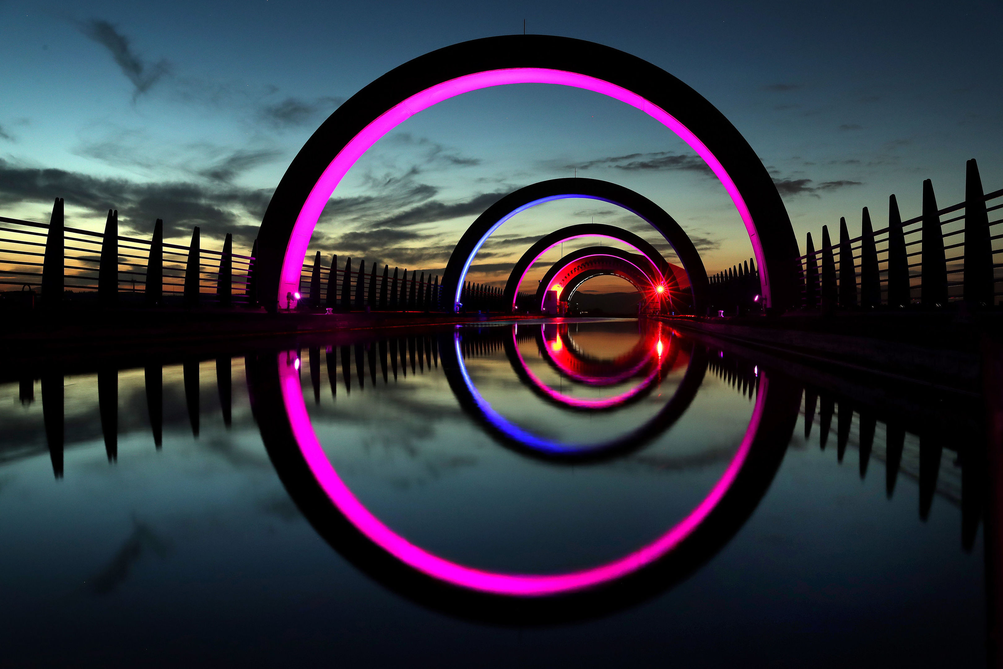 The Falkirk wheel at sunset (Andrew Milligan / PA)