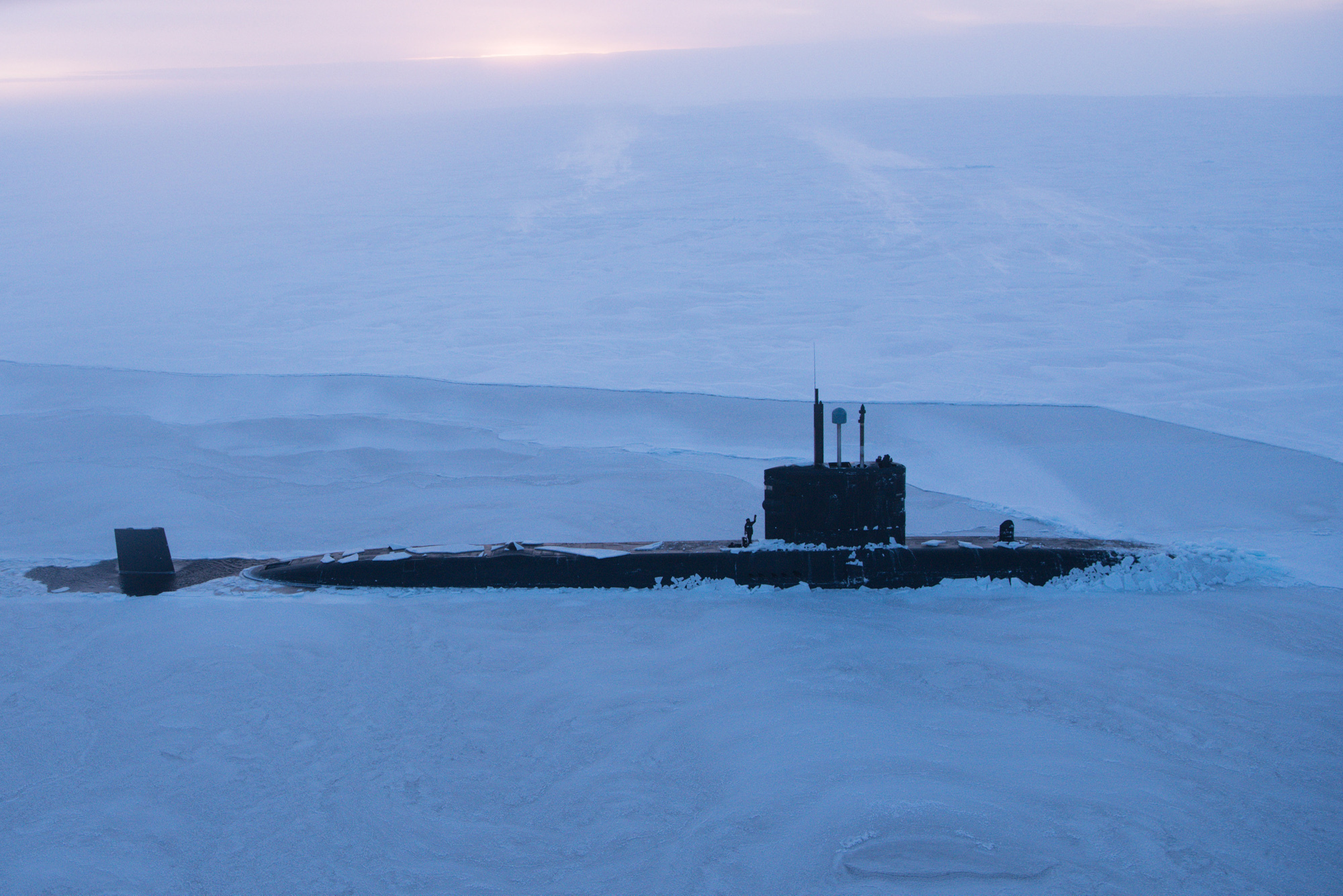 HMS Trenchant breaking through the metre-thick ice of the Arctic Ocean (Cdr Charles Ball/Royal Navy/PA Wire)