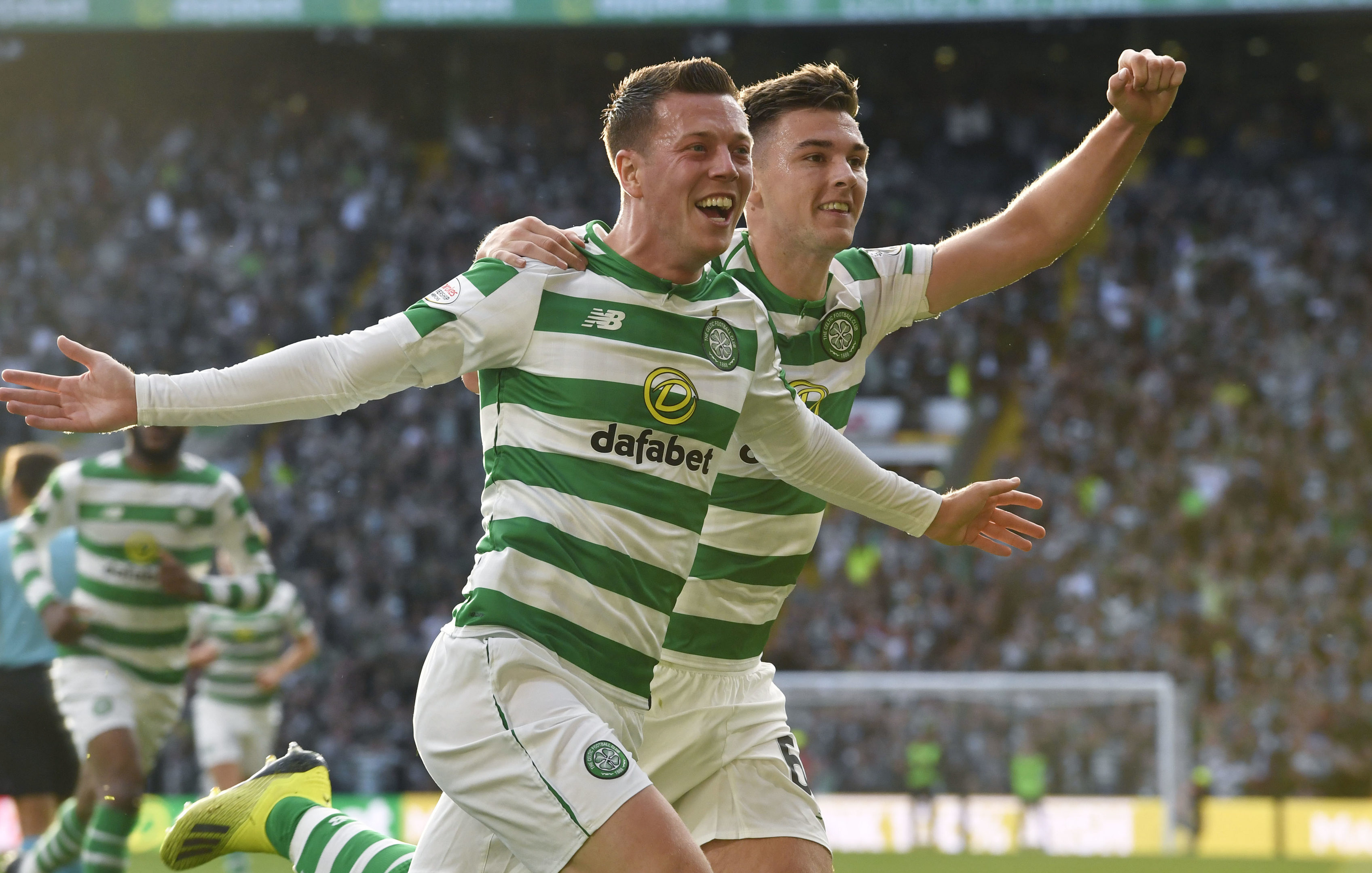 Celtic's Callum McGregor celebrates his goal with Kieran Tierney (right) (SNS Group)