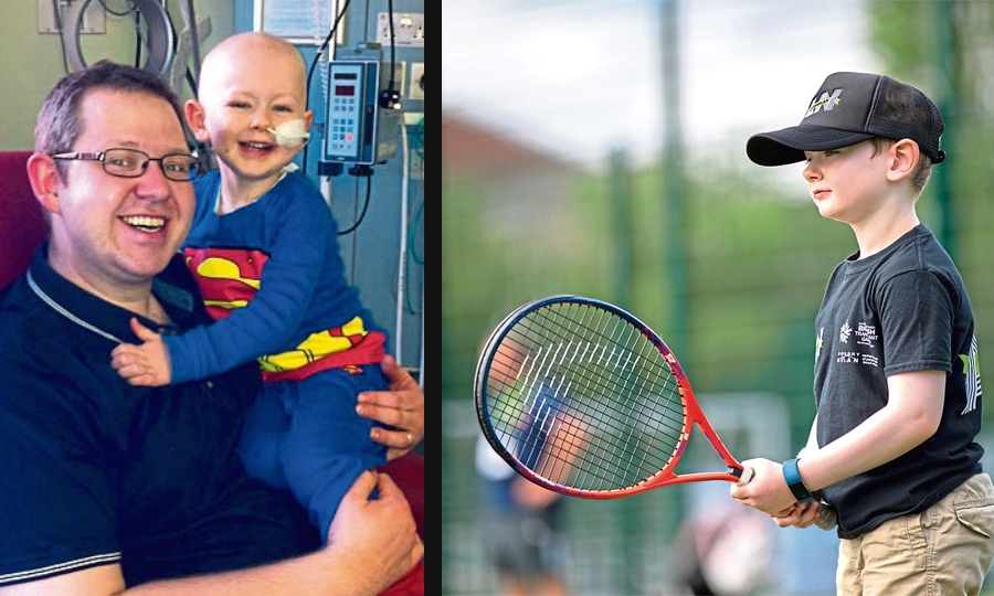 Calum Lambert, pictured left with his dad Derek, had a lifesaving stem-cell transplant and recently competed at the British Transplant Games (right)