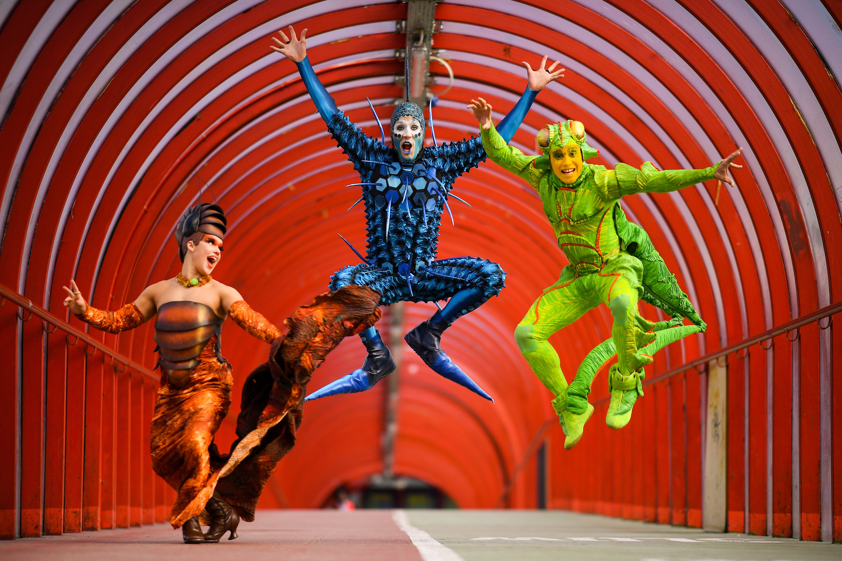 Cirque Du Soleil cast members Julia Tazie from Brazil, Jan Duther from Switzerland and Nathan Rivera-Drydak from Canada in the famous Exhibition Centre tunnel (Jeff J Mitchell/Getty Images)