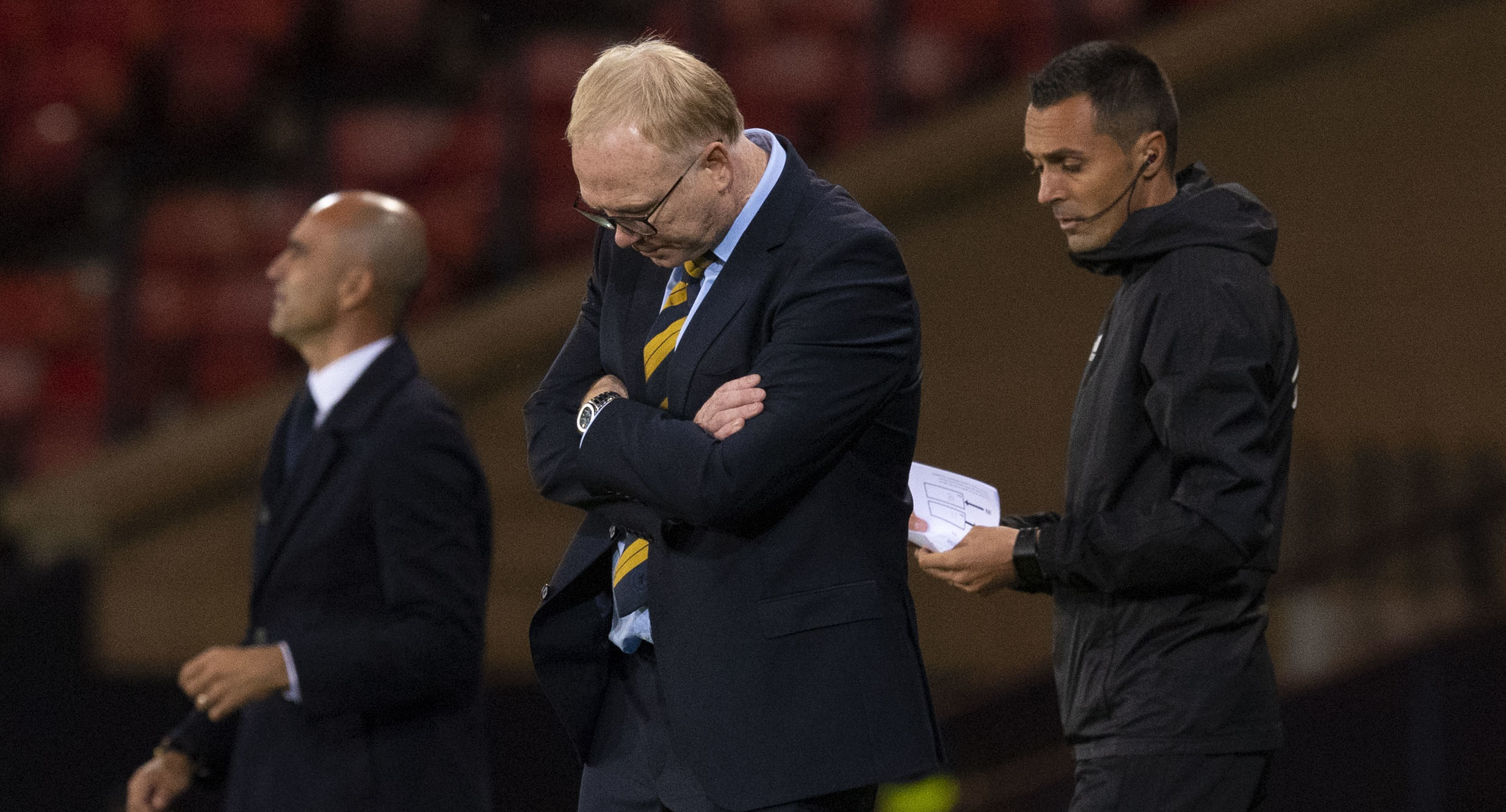 Scotland manager Alex McLeish looks frustrated at the Belgium match