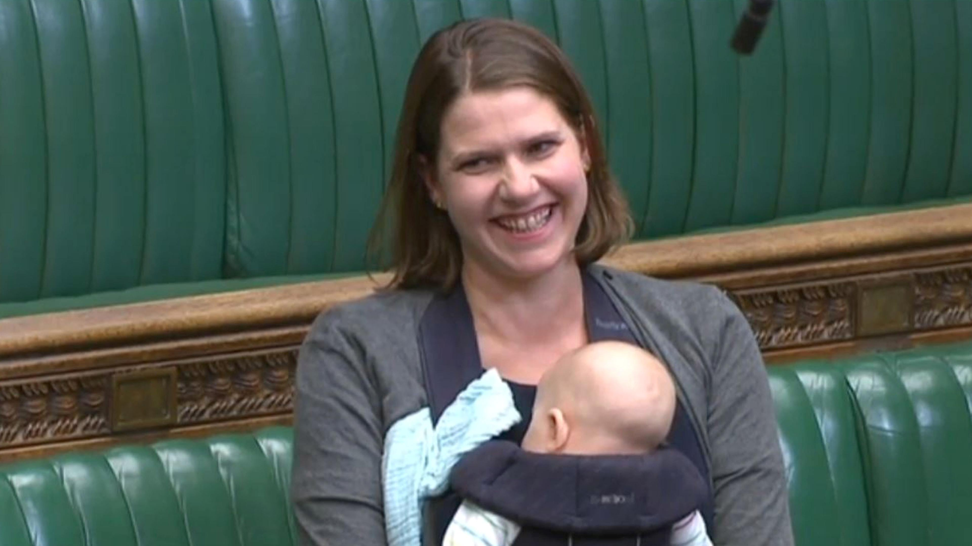 Jo Swinson and 11-week-old Gabriel