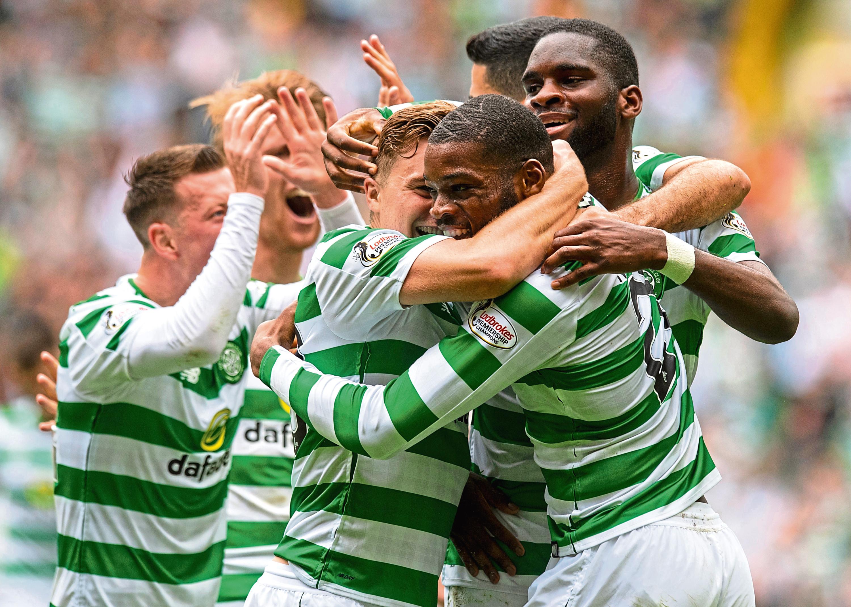 Celtic's Olivier Ntcham celebrates his goal with team-mates