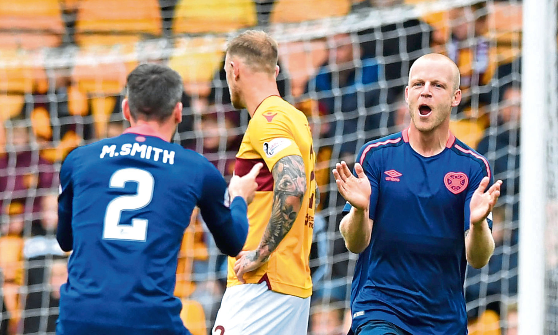 Hearts striker Steven Naismith celebrates scoring (SNS Group)