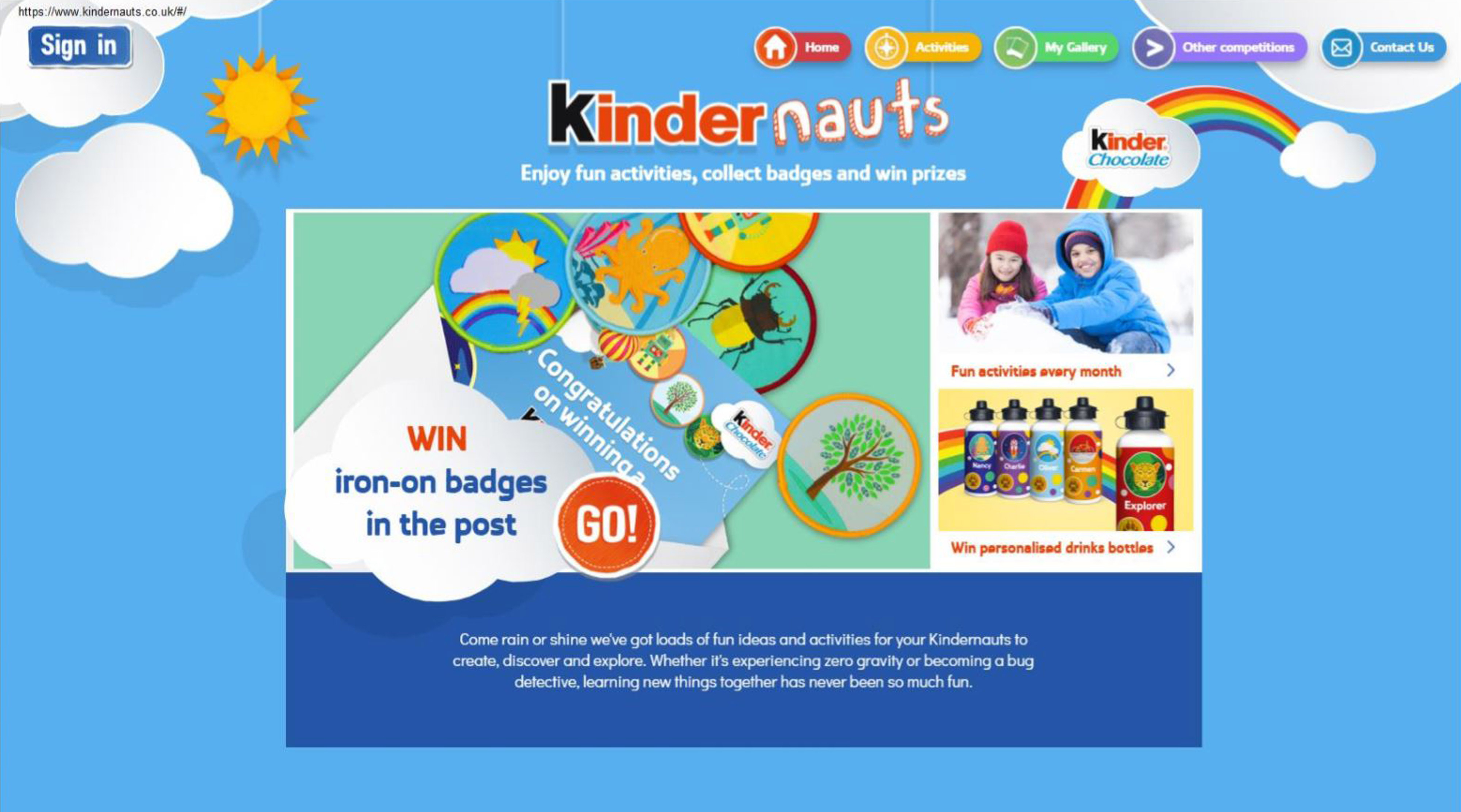 A screengrab issued by Advertising Standards Authority (ASA) of a page from the website of Kinder (Kinder/PA Wire)