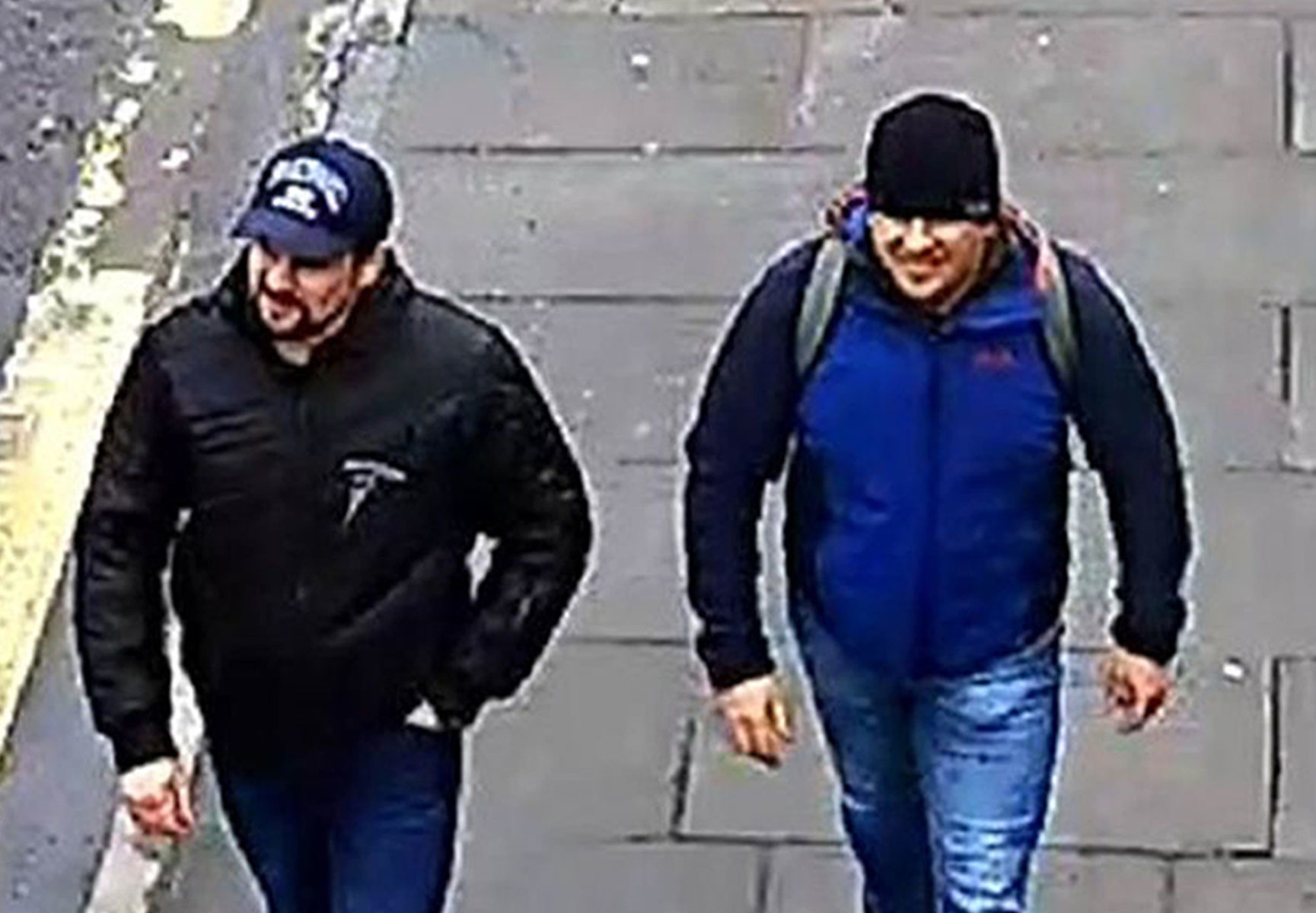 CCTV image issued by the Metropolitan Police of Russian Nationals Ruslan Boshirov and Alexander Petrov on Fisherton Road, Salisbury. (Press Association)
