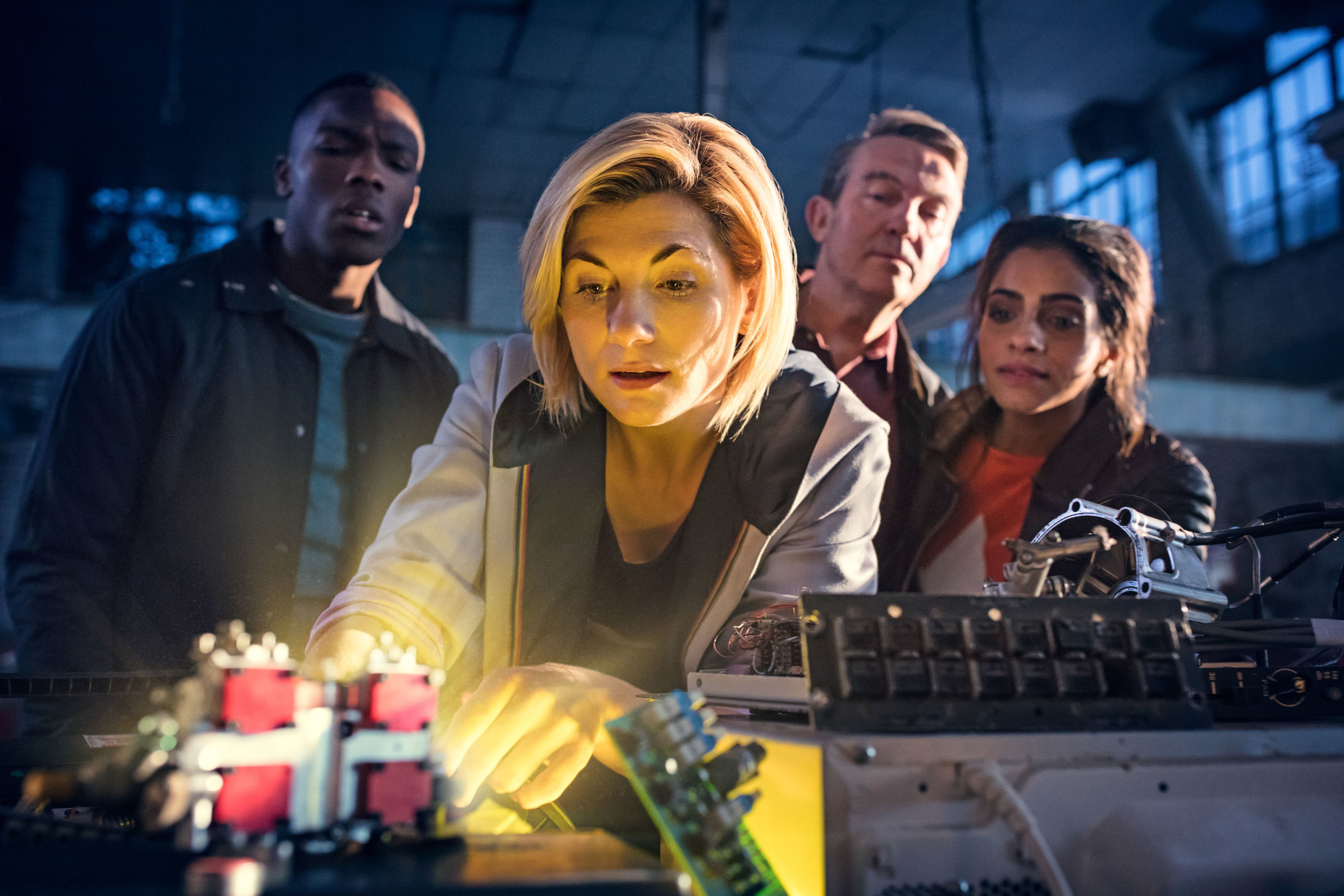 Jodie Whittaker as The Doctor (centre), Bradley Walsh as Graham (second right) and Mandip Gill as Yaz (first right) (Sophie Mutevelian/PA Wire)