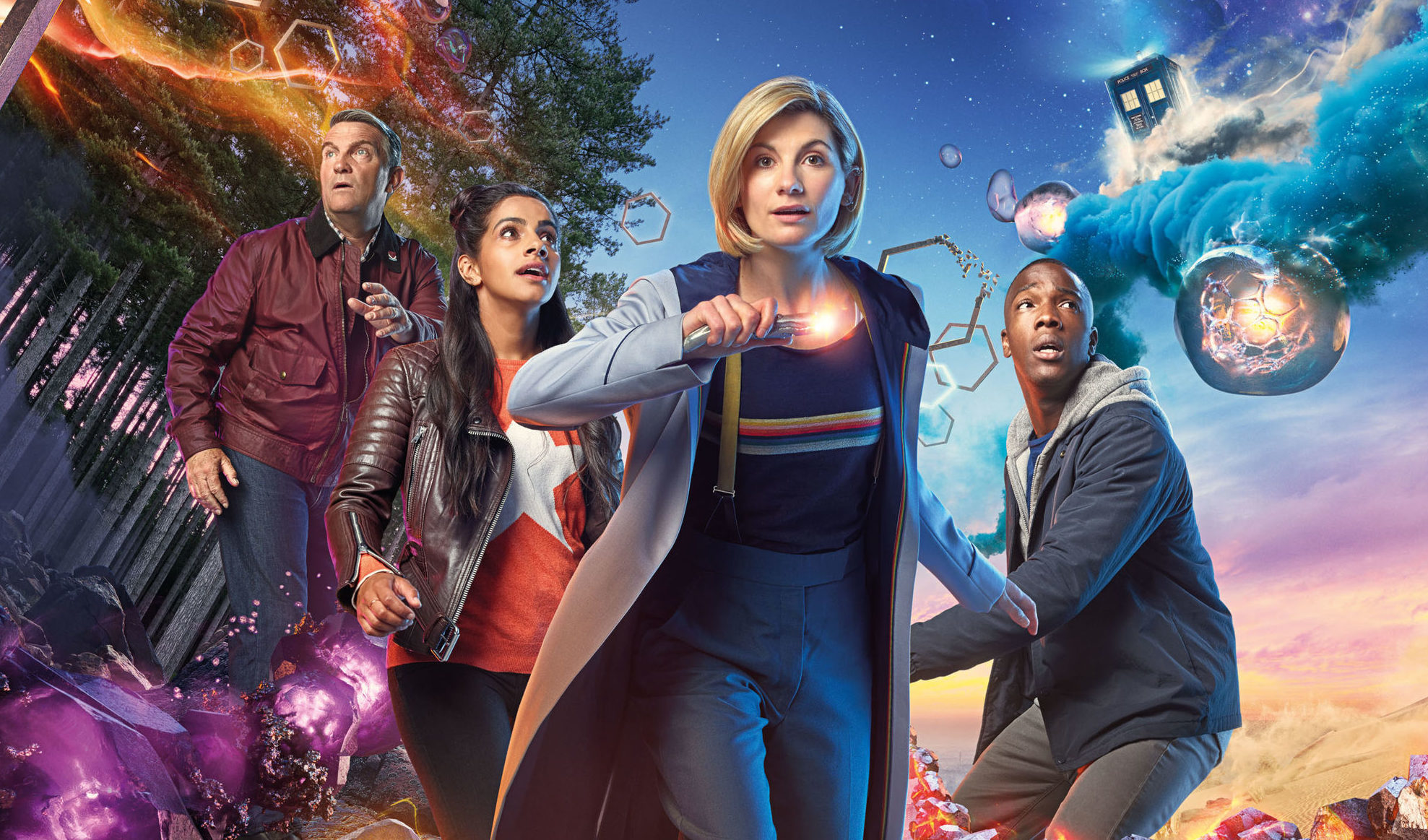 Jodie Whittaker as The Doctor with (left to right) Bradley Walsh as Graham, Mandip Gill as Yaz and Tosin Cole as Ryan (Henrik Knudsen/BBC/PA Wire)