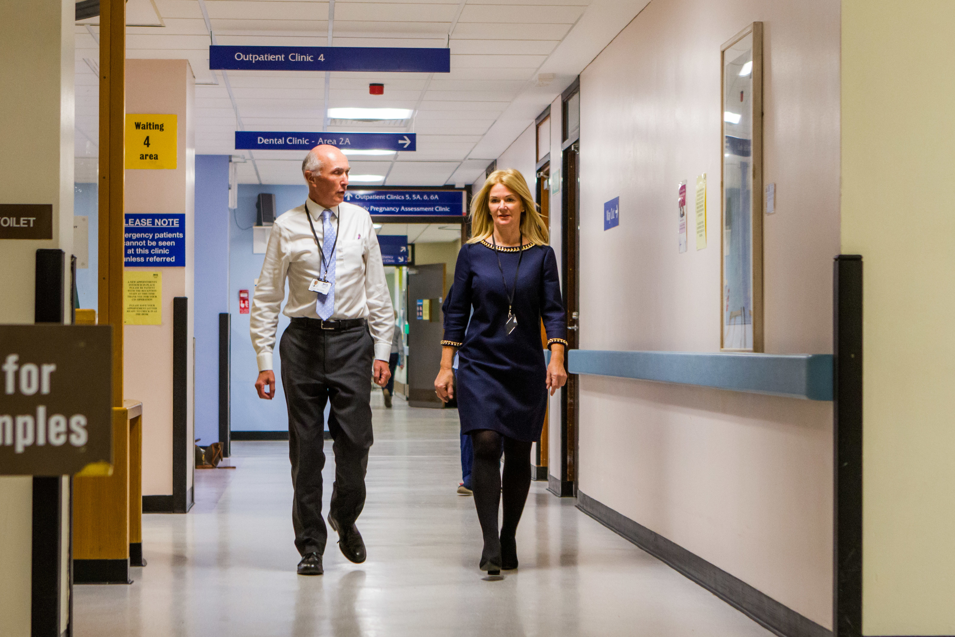 NHS Tayside Chairman Professor John Connell and NHS Tayside Chief Executive Lesley McLay at Ninewells Hospital.