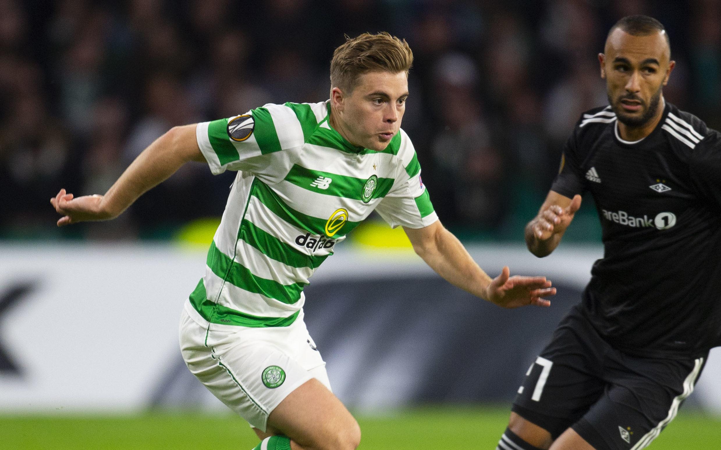 Celtic's James Forrest (left) in action against Rosenborg (SNS Group / Rob Casey)