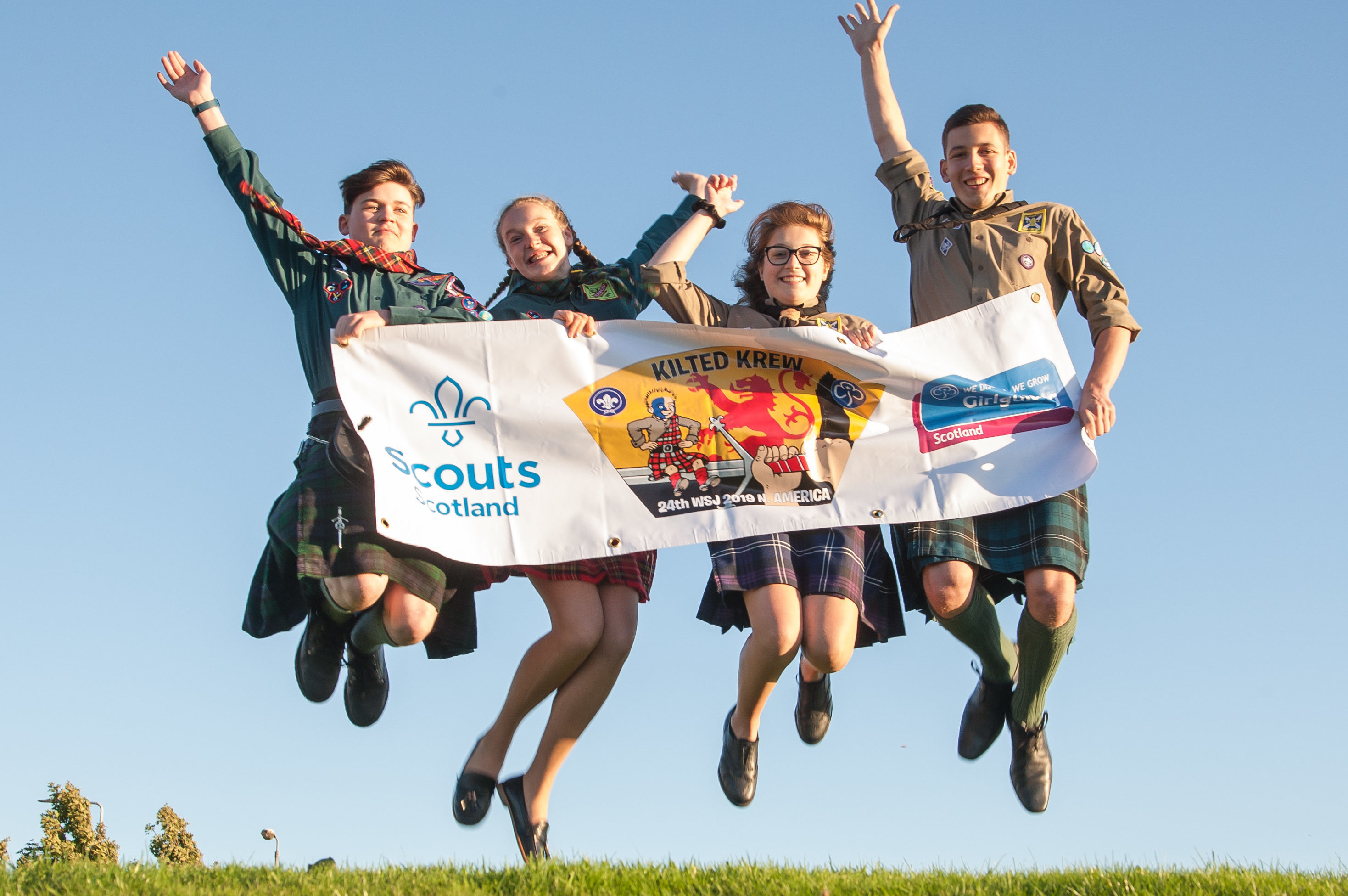 Scouts Mark Allen, Abbie Porter, Eva Welsh, and Fraser O'Brien at the launch (Tina Norris)