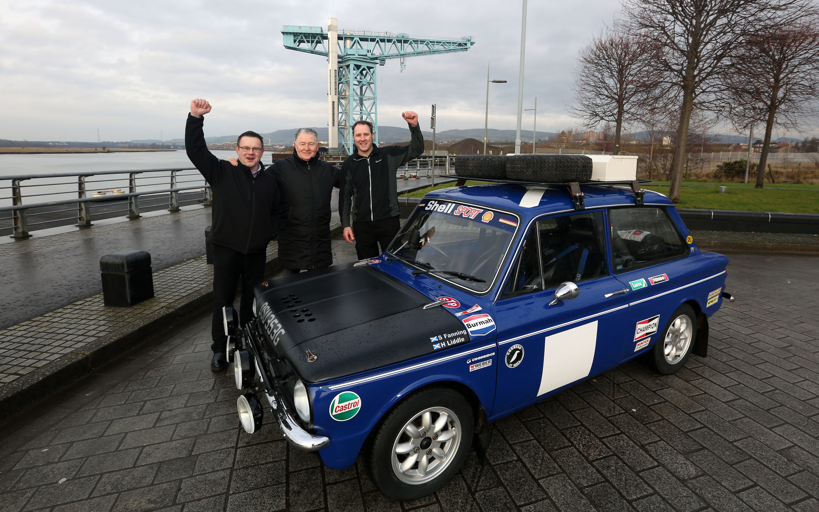 Ballie Denis Agnew with Scott Fanning and Hugh Liddle with the Hillman Imp