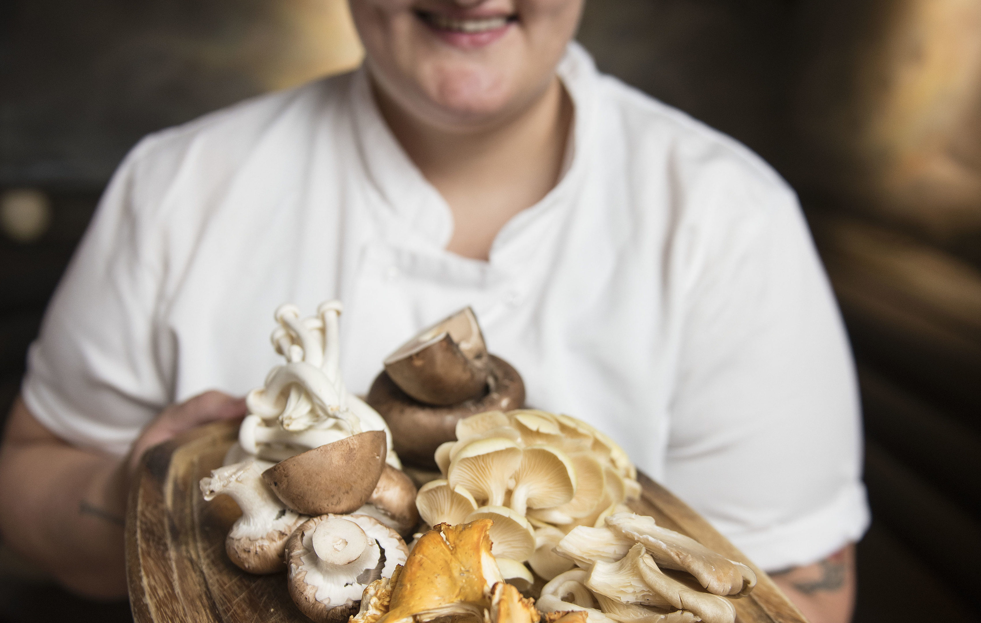 Mushrooms with head chef Yvonne Noon from Sisters restaurant in Glasgow (Wattie Cheung)