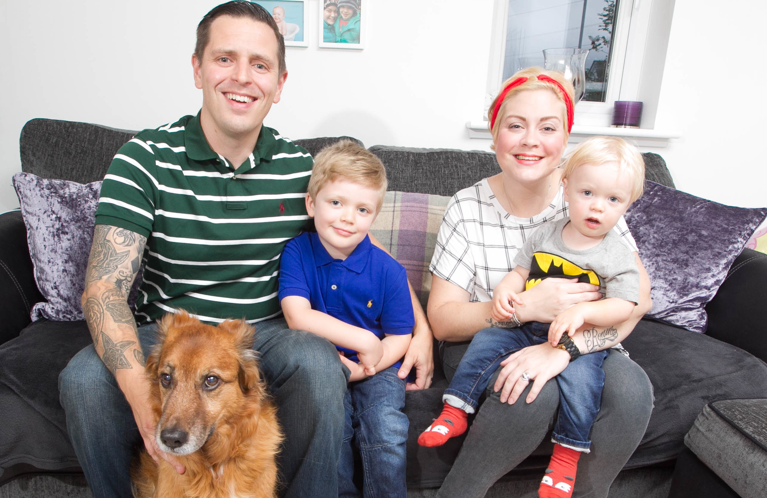 Pamela at home with kids Robin and Leo, husband Chris and their pet dog (DCT Media / Chris Austin)