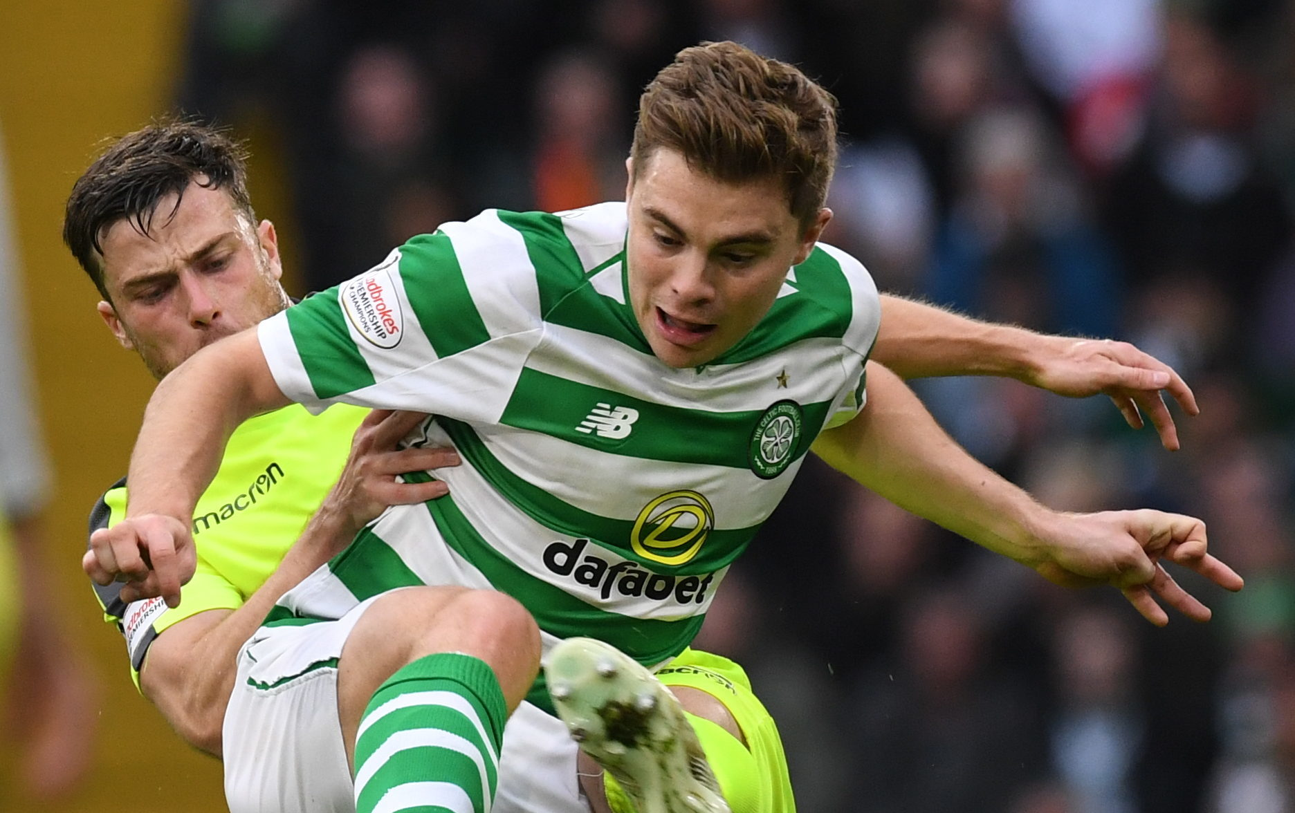 Celtic's James Forrest (right) is keen to be back in the action (SNS Group)