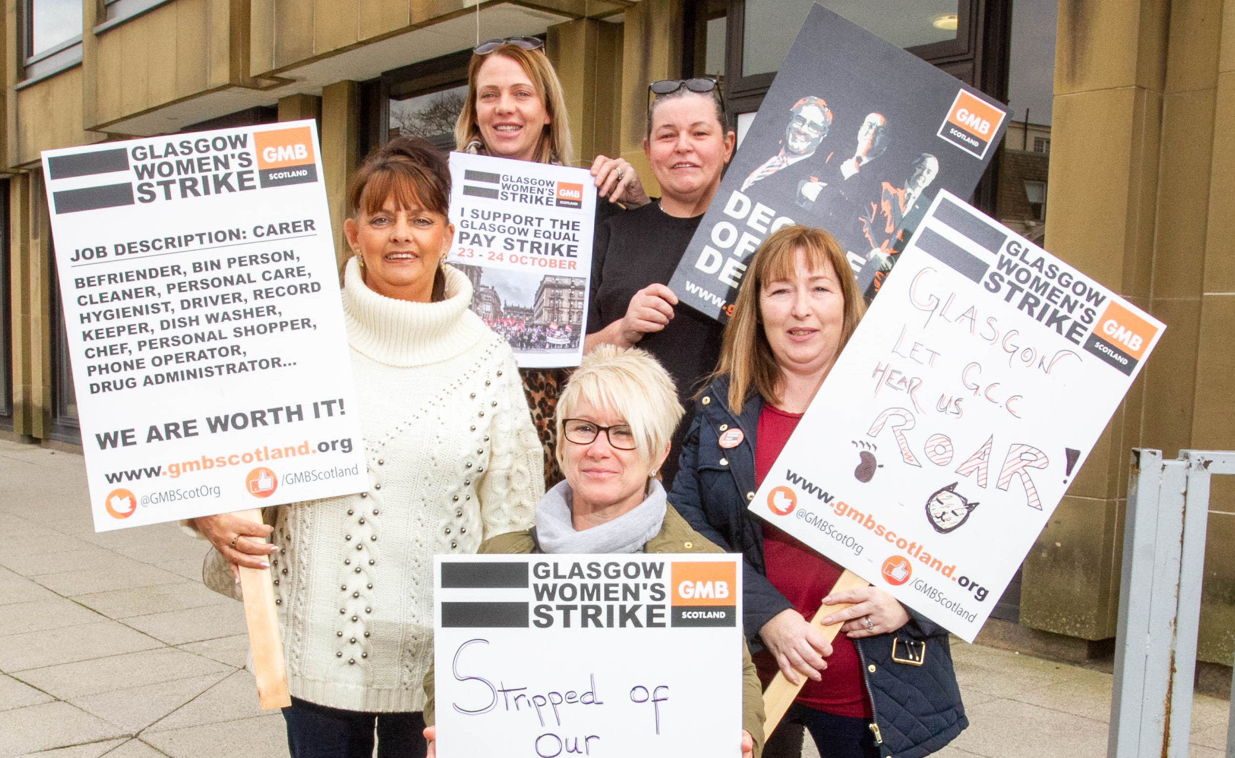 Members of GMB elect to strike next week for equal pay for woman.