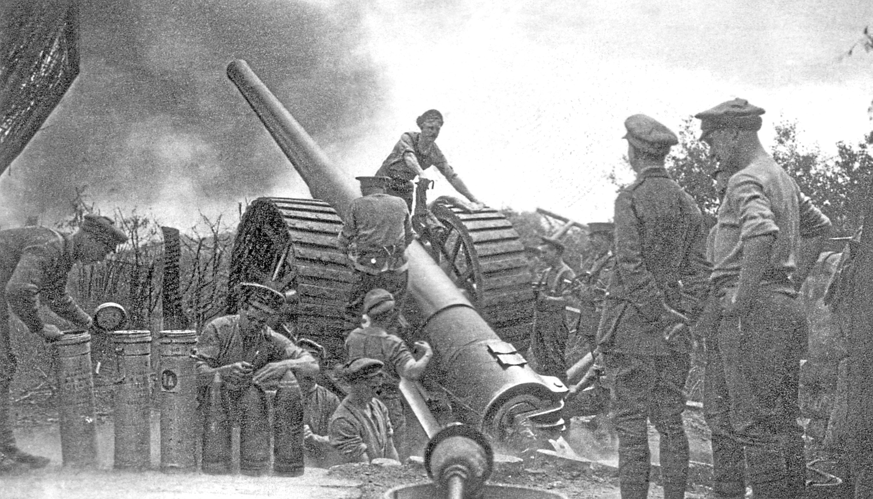 A British heavy gun in action (PA)
