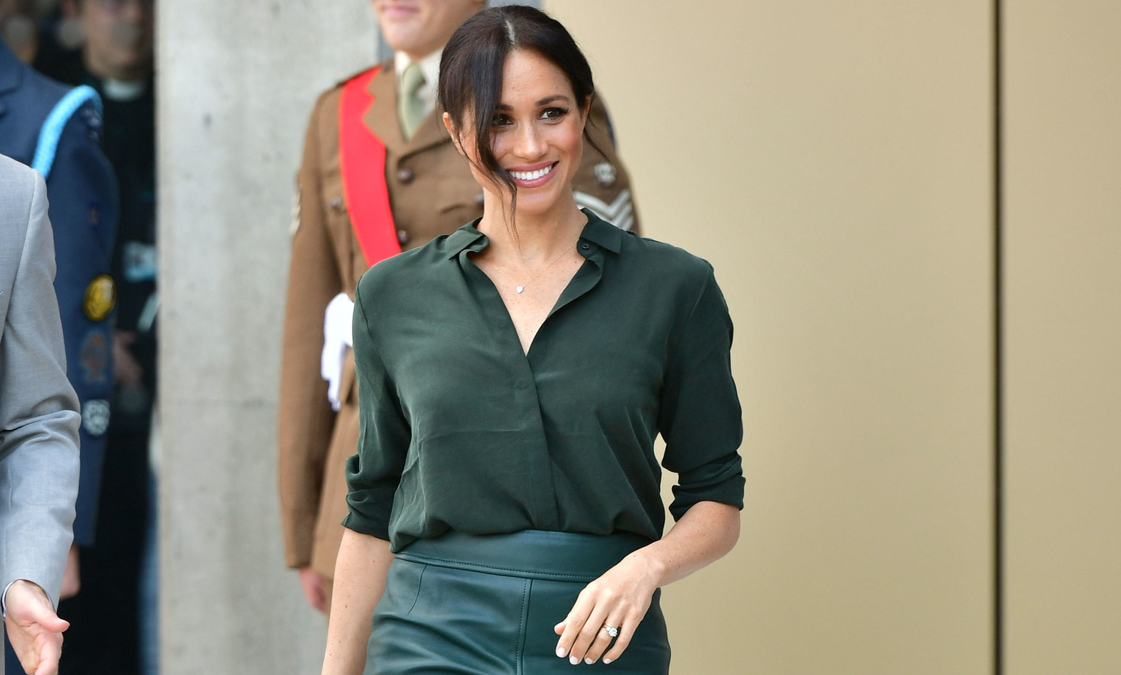 The Duchess of Sussex arrives at the University of Chichester, Bognor Regis, West Sussex, as part of her first joint official visit to Sussex. (PA)