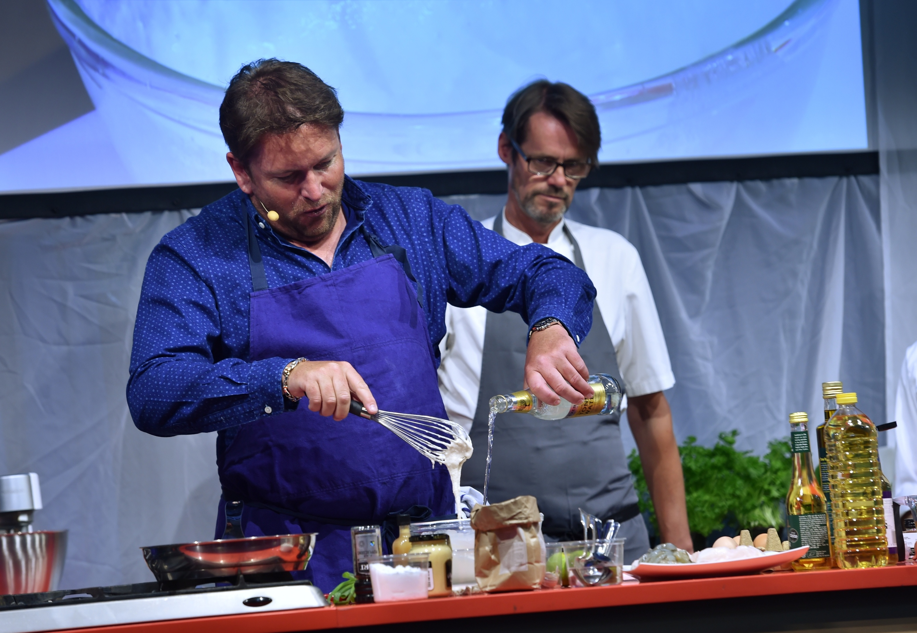 James Martin performing a cooking demonstration (Colin Rennie / DCT Media)