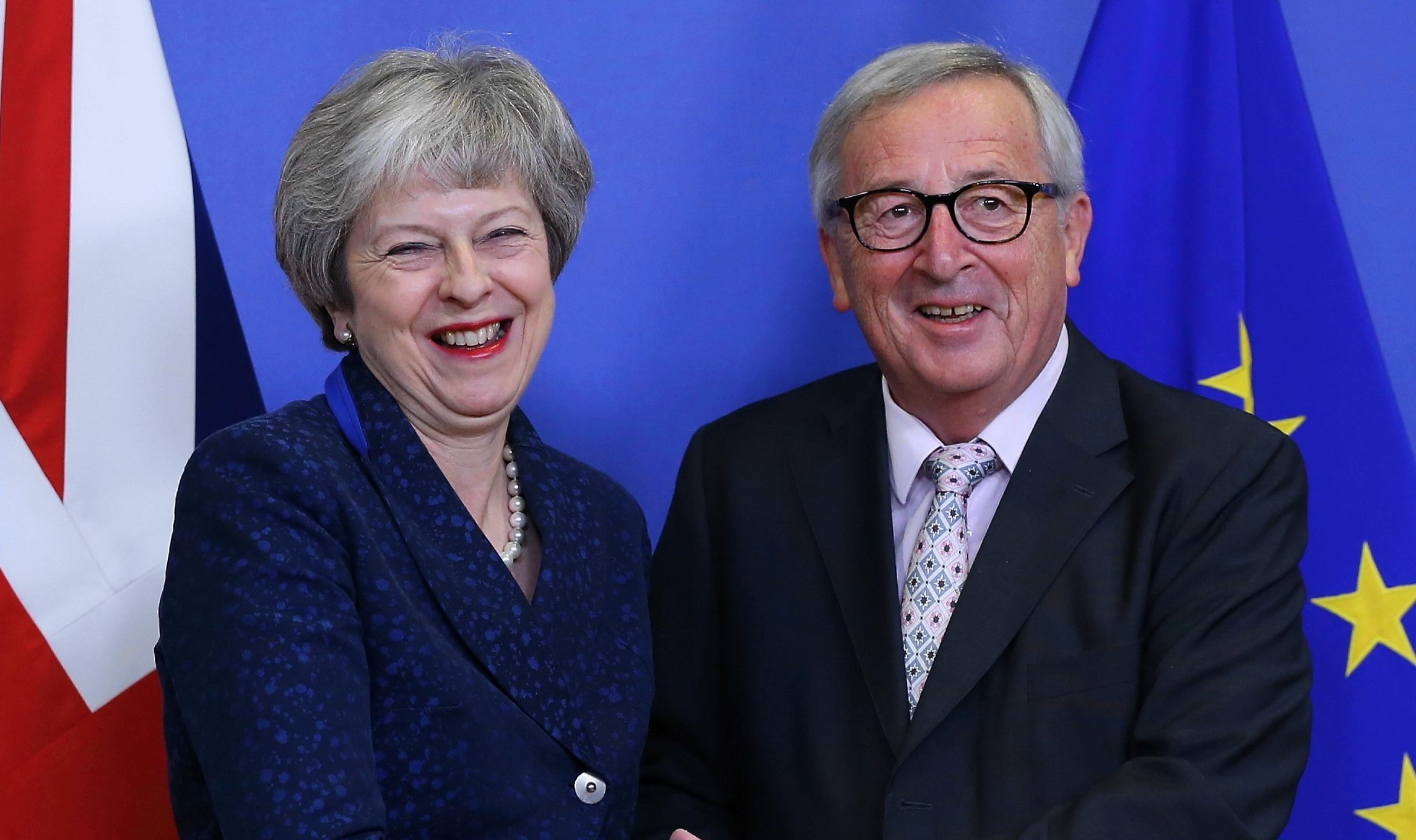 European Commission President Jean-Claude Juncker, welcomes  Theresa May in Brussels yesterday (Dursun Aydemir/Anadolu Agency/Getty Images)