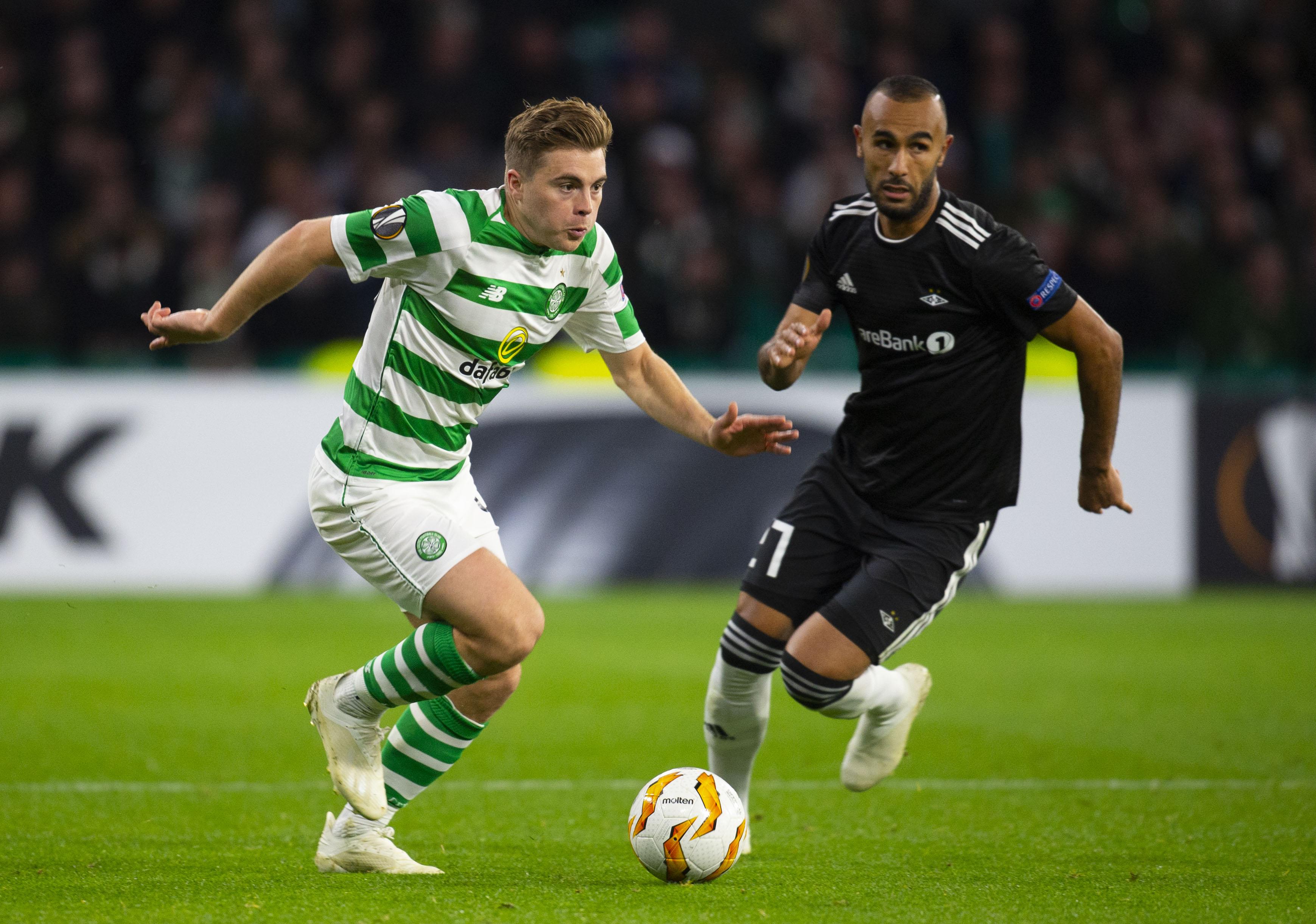 Celtic's James Forrest (left) in action against Rosenborg (SNS Group)