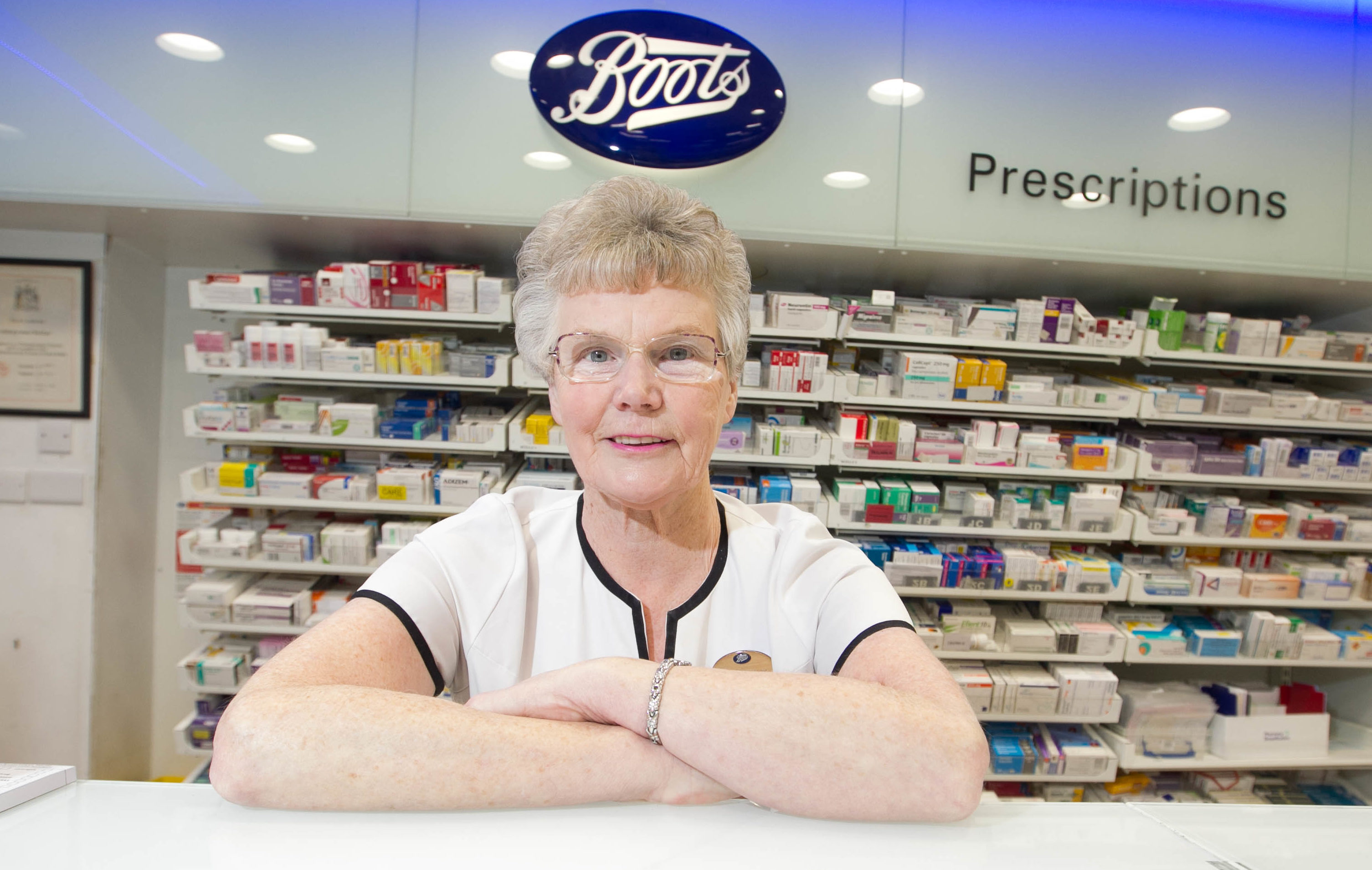 Betty Humes at the counter of Boots (Chris Austin / DC Thomson)
