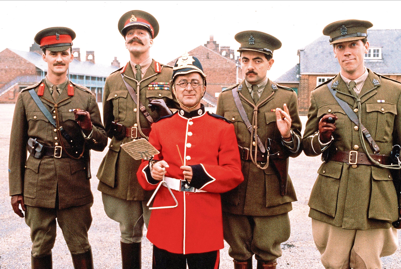 Captain Darling, General Sir Anthony Cecil Hogmanay Melchett, Private Baldrick, Captain Edmund Blackadder, Lieutenant The Honourable George Colthurst St. (BBC)