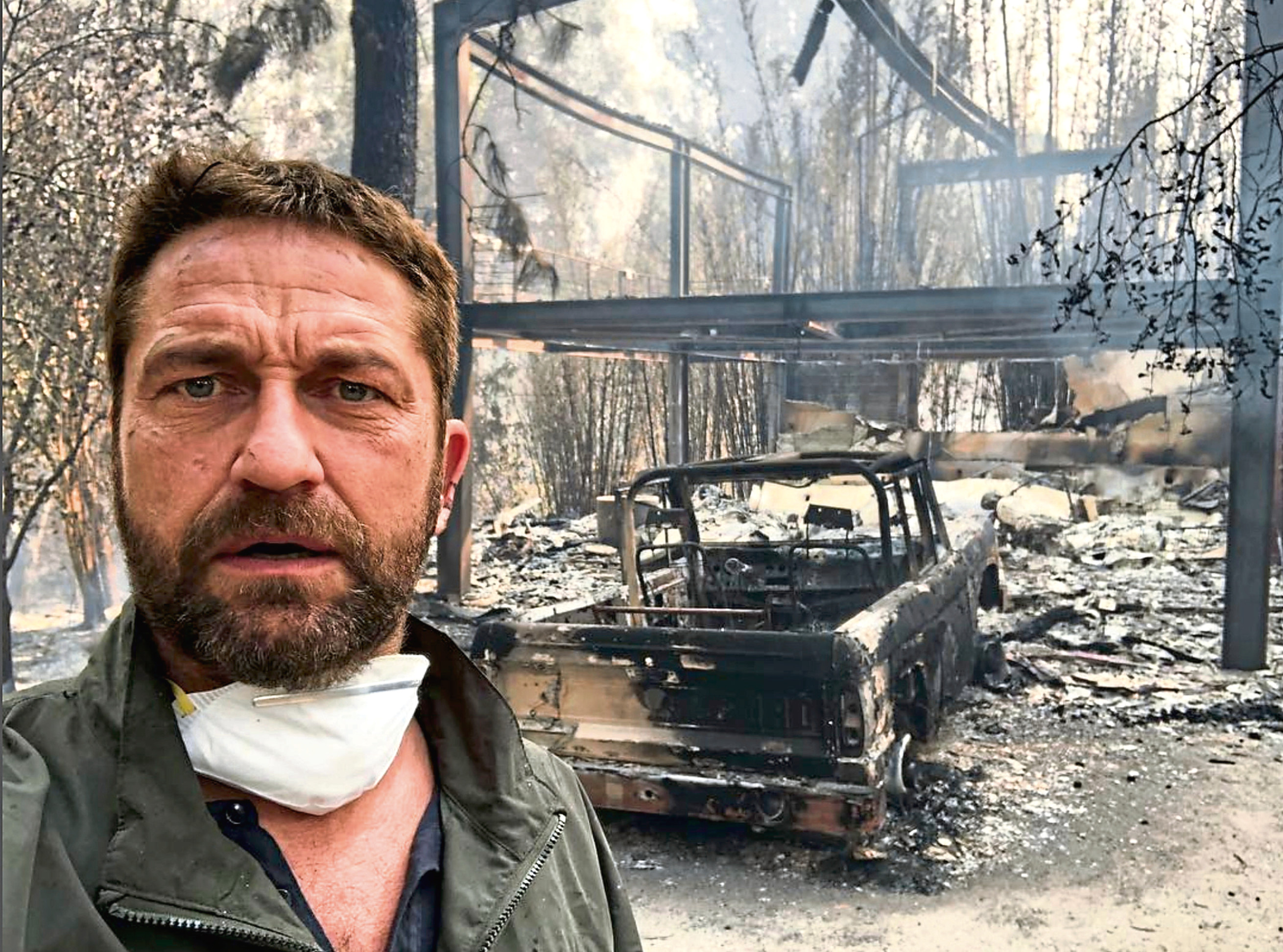 Gerard Butler shared a photo of his home, which was destroyed by the Woolsey Fire in southern California