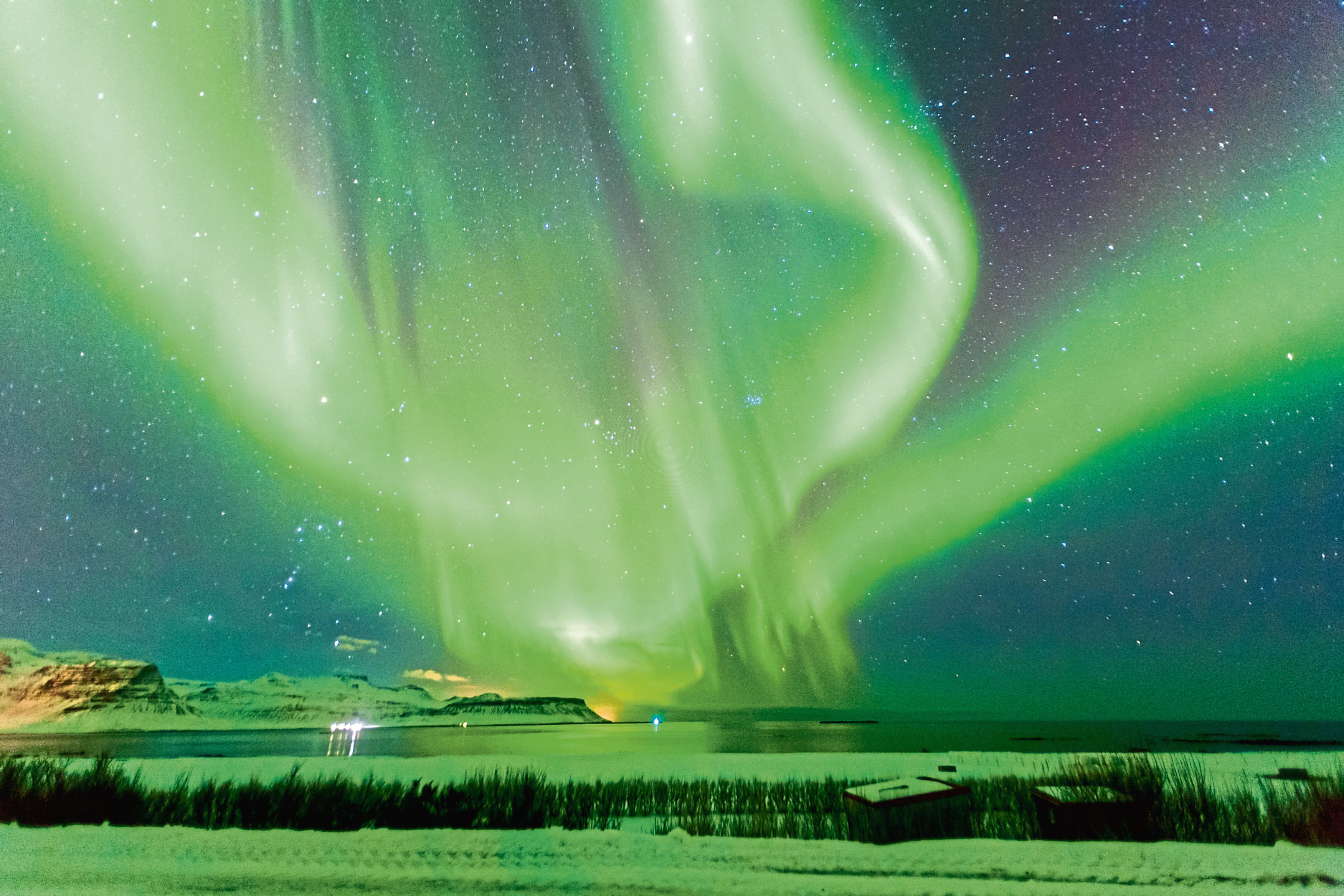 The Aurora Borealis, also known as the Northern Lights, seen above Iceland