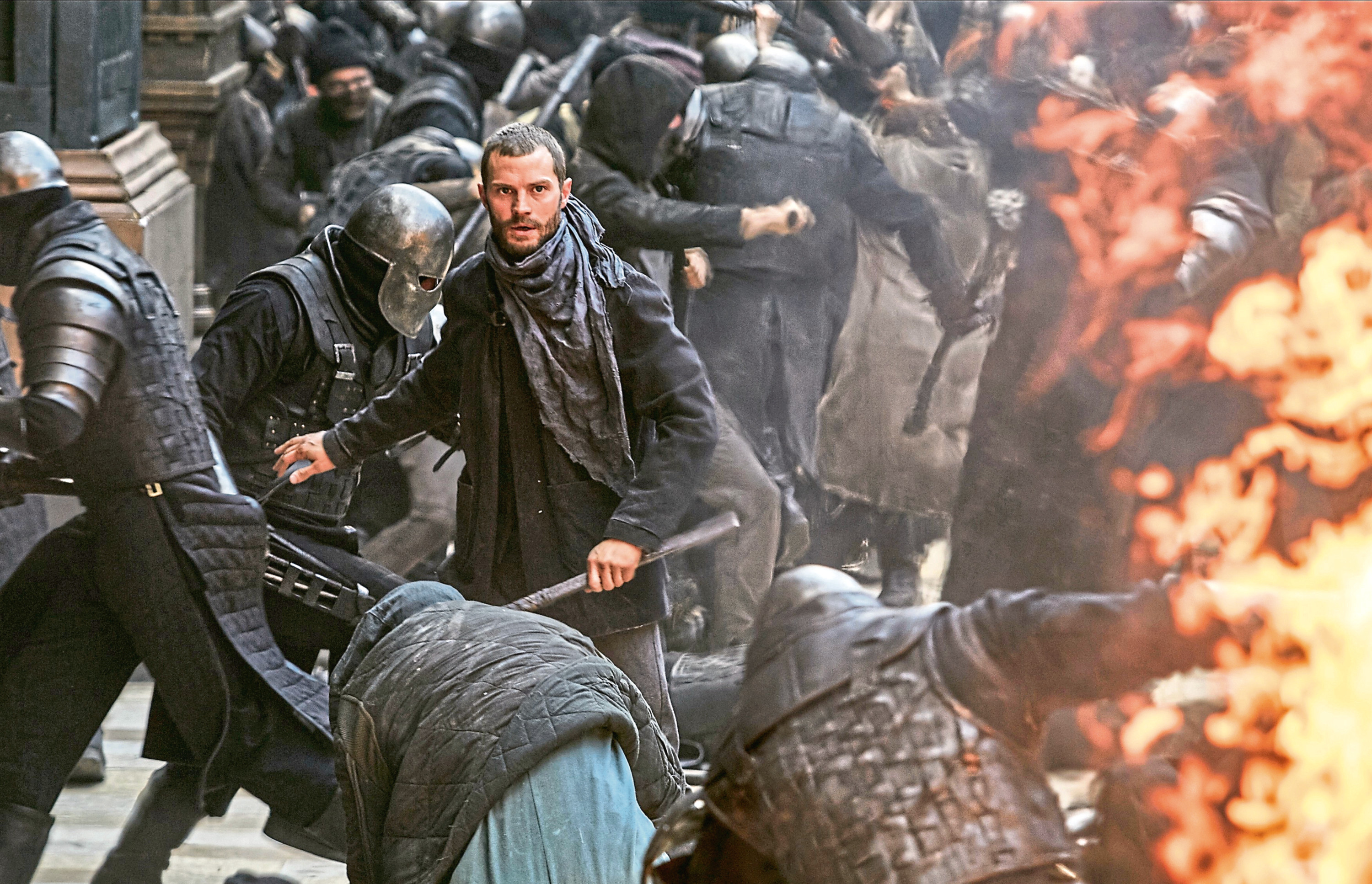 Jamie Dornan as Will Scarlet in a fight scene from the latest movie version of Robin Hood